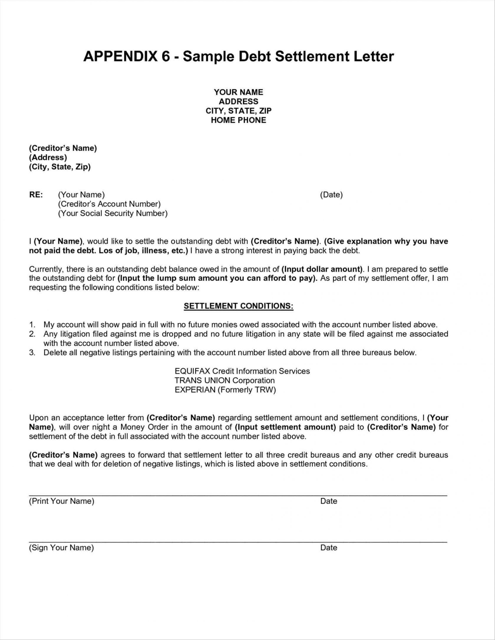Credit Card Settlement Letter Template - Debt Negotiation Letter Template