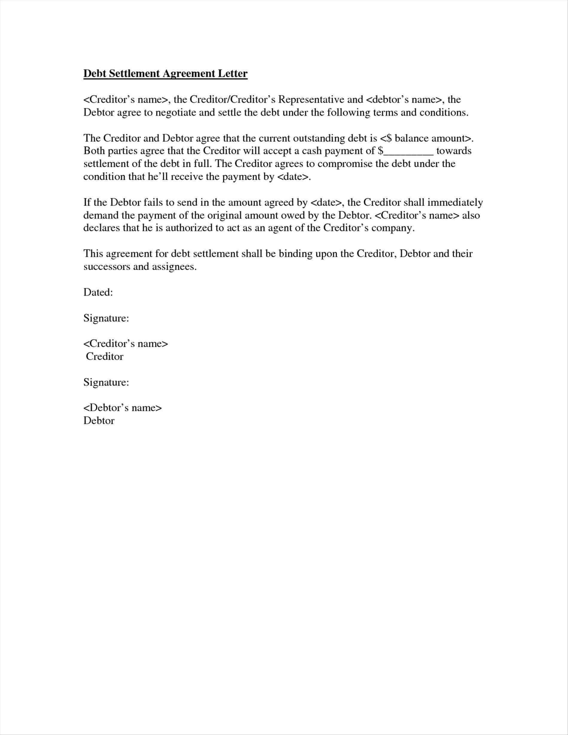 Letter to Creditors Template - Debt Negotiation Letter Template