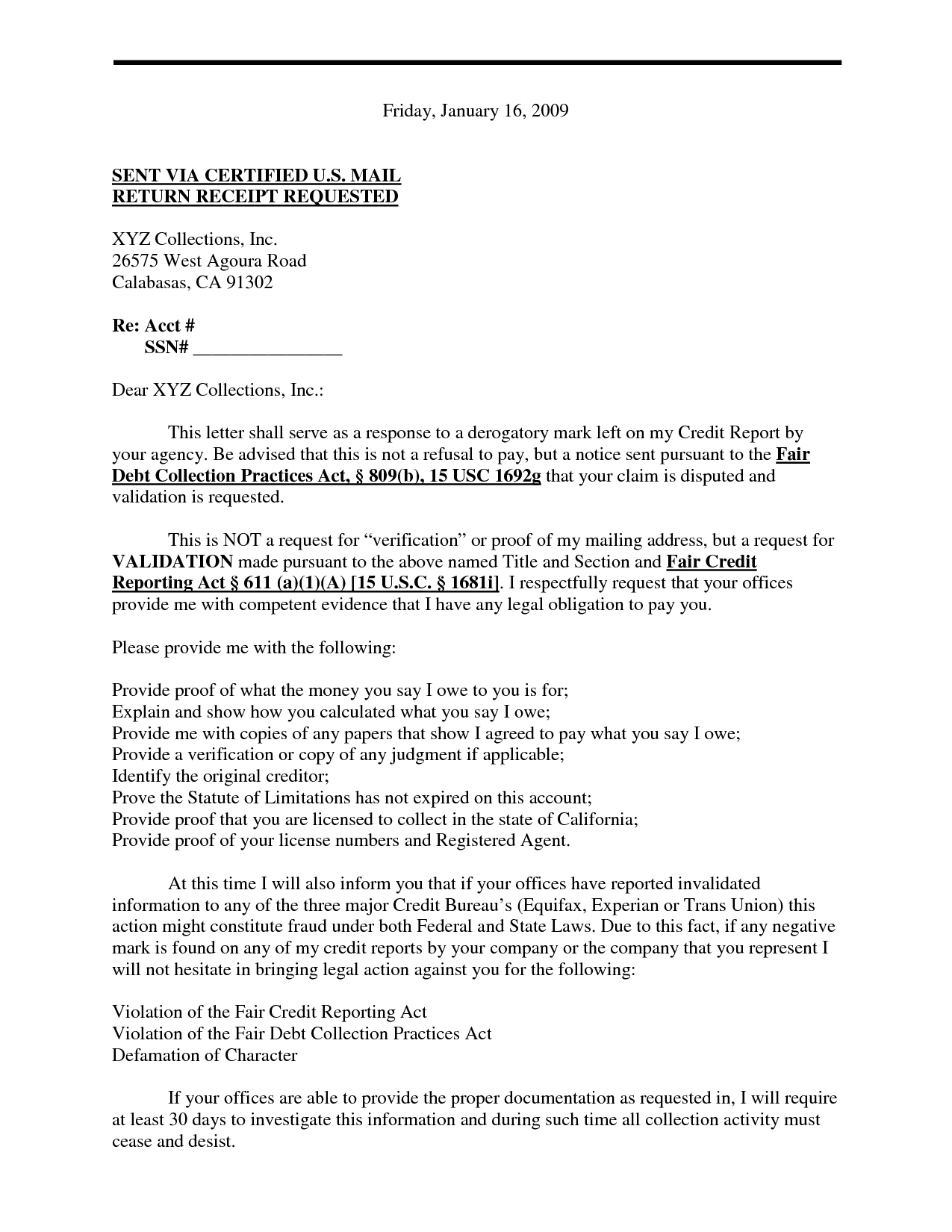 Debt Harassment Template Letter - Debt Validation Letter