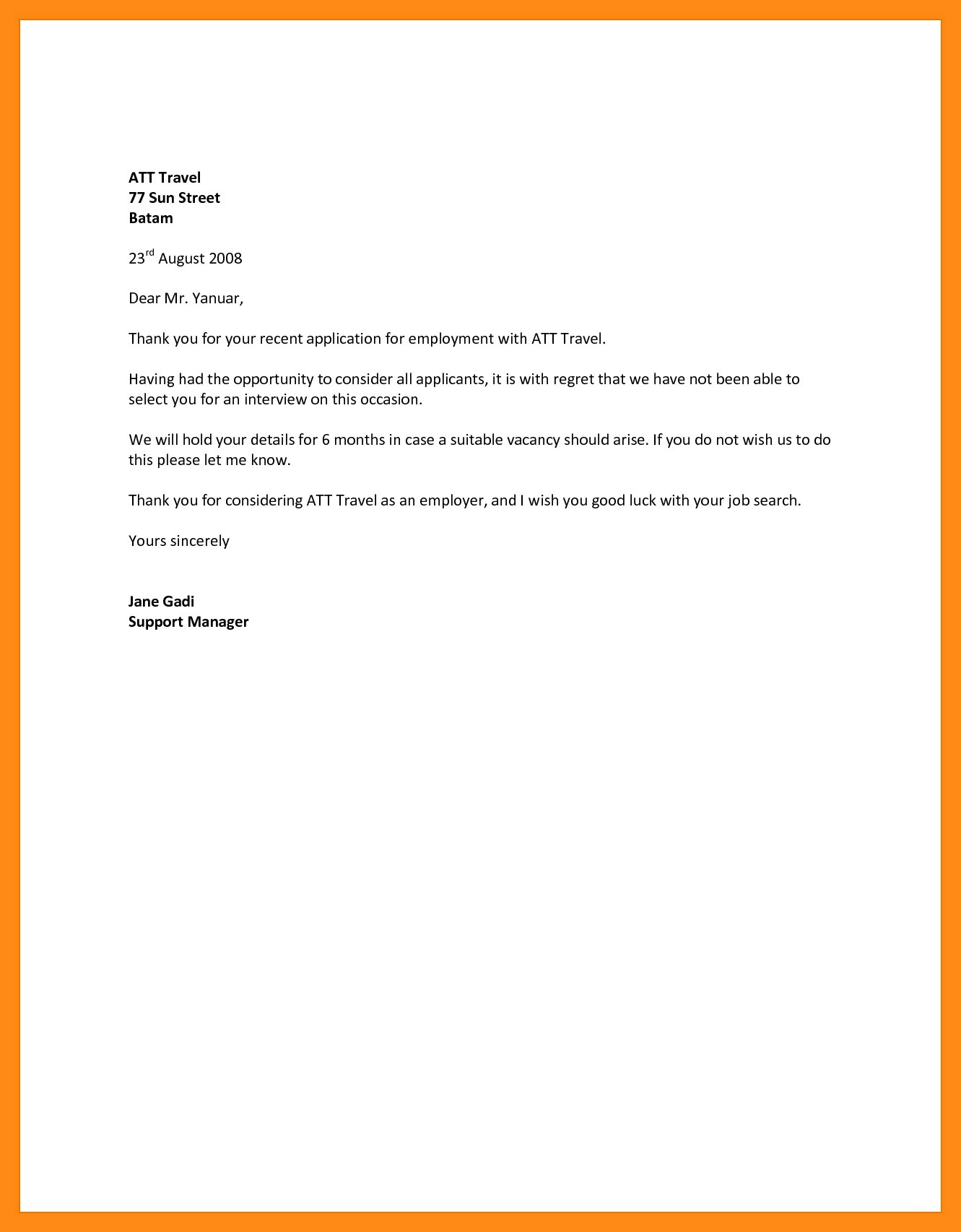 Employment Rejection Letter Template - Decline Letter Sample Invitation Letter format Sample
