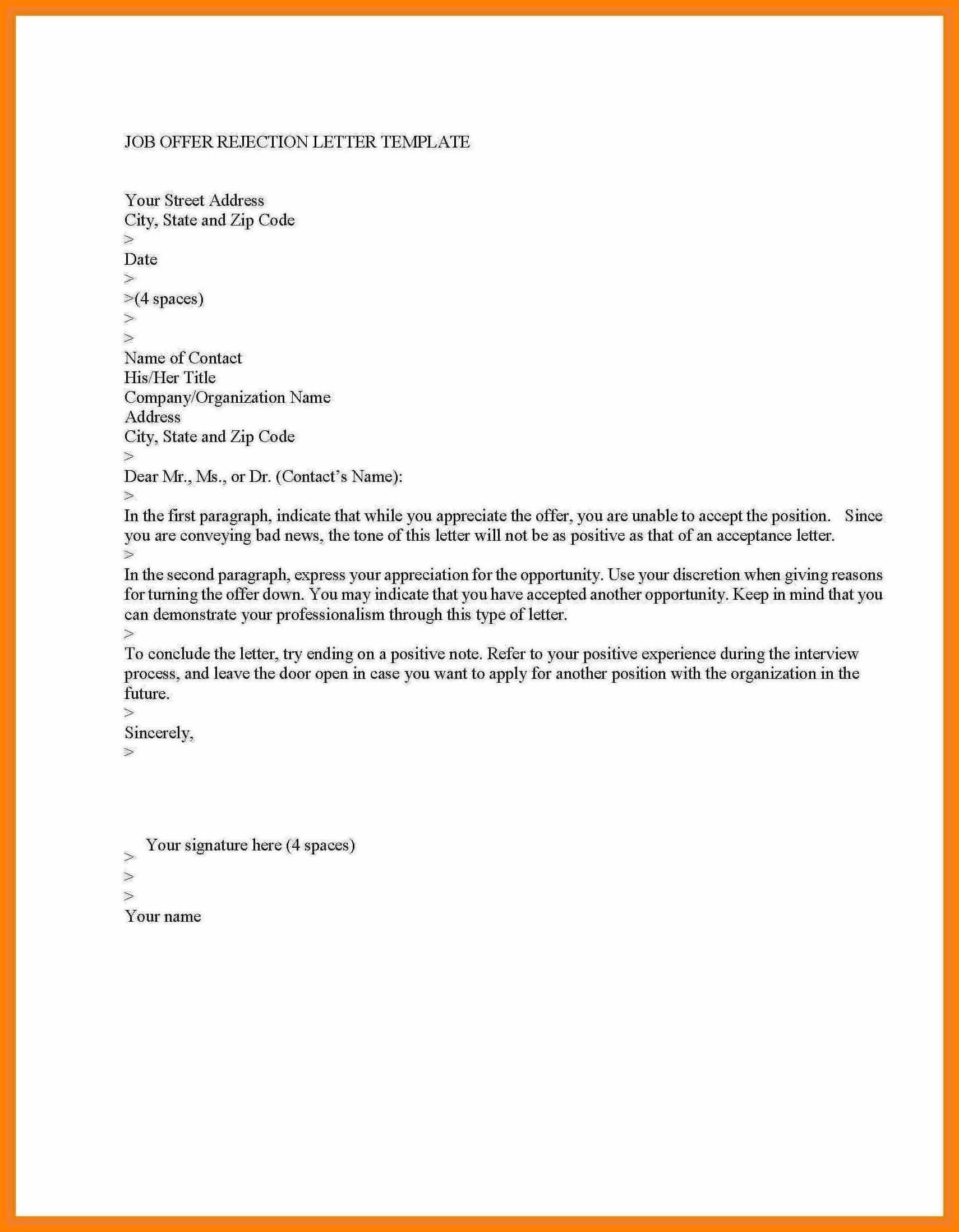 Rejection Letter Template after Interview - Declining A Job Fer Letter Refrence Letter Rejection Job Fer Save