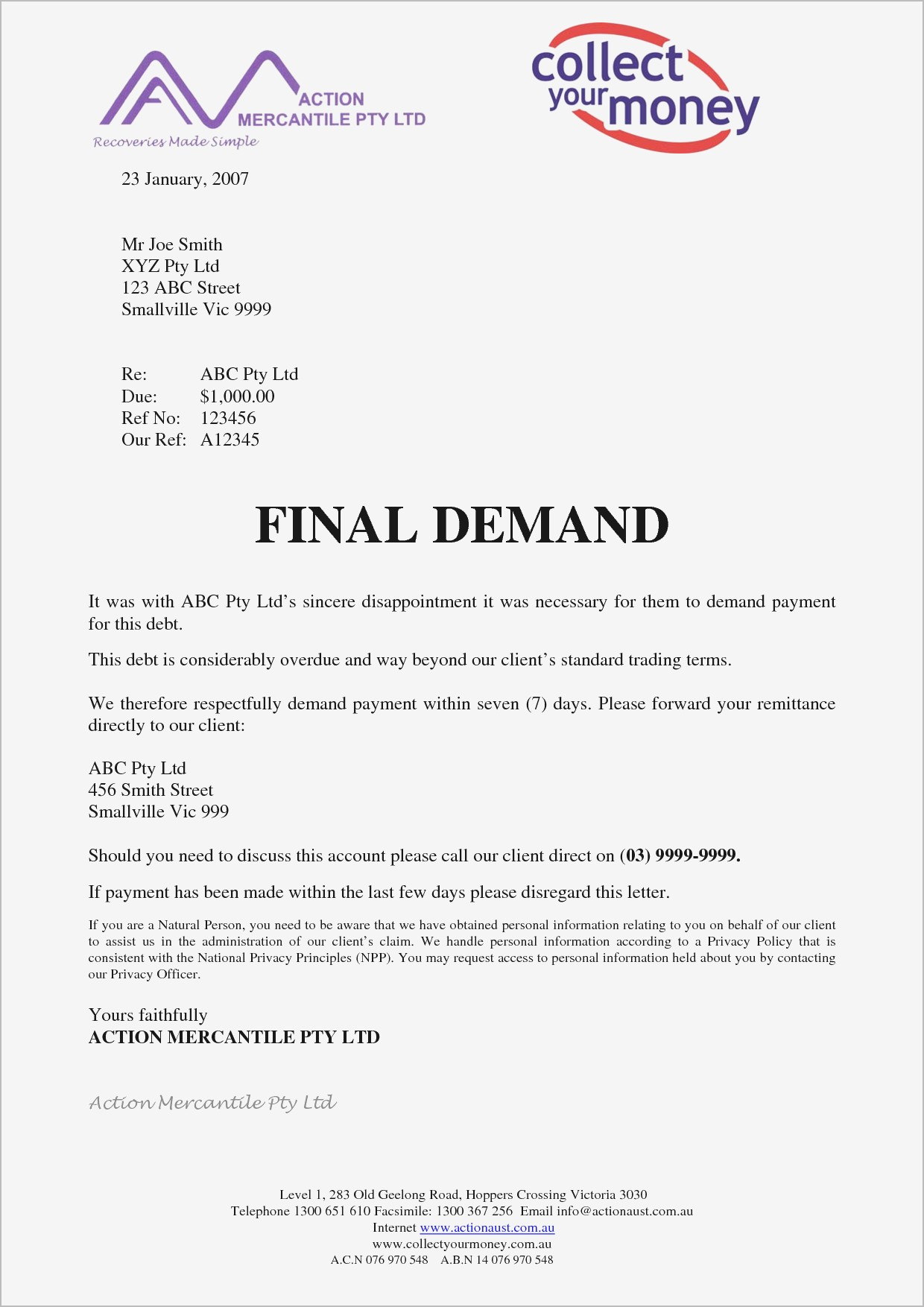 Final Demand for Payment Letter Template - Demand for Payment Letter Template Ideas