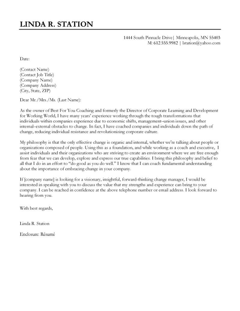 Business Development Cover Letter Template - Director Of Corporate Learning and Development Cover Letter