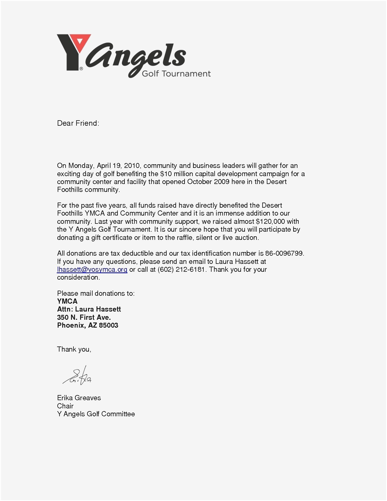 Golf tournament Donation Letter Template - Donation Request Letter Template