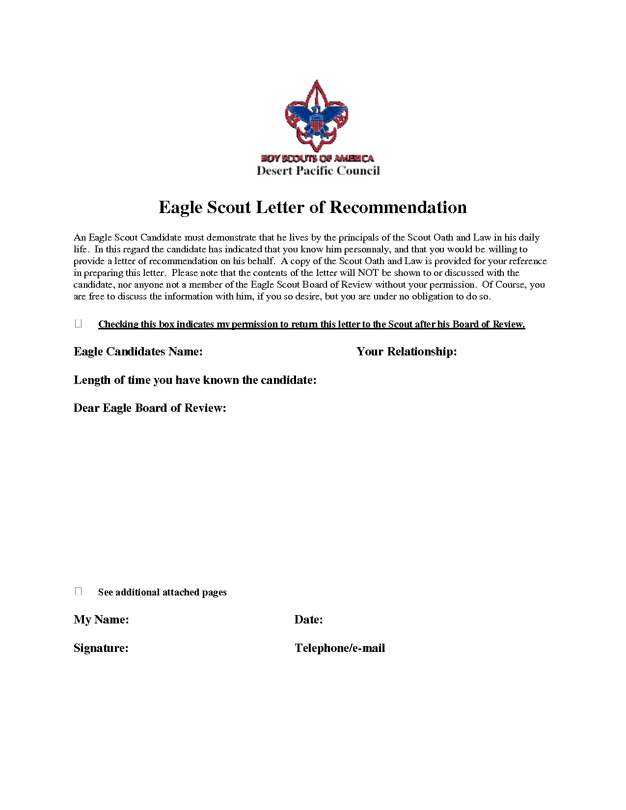 Eagle Scout Recommendation Letter Template - Eagle Scout Re Mendation Letter Sample