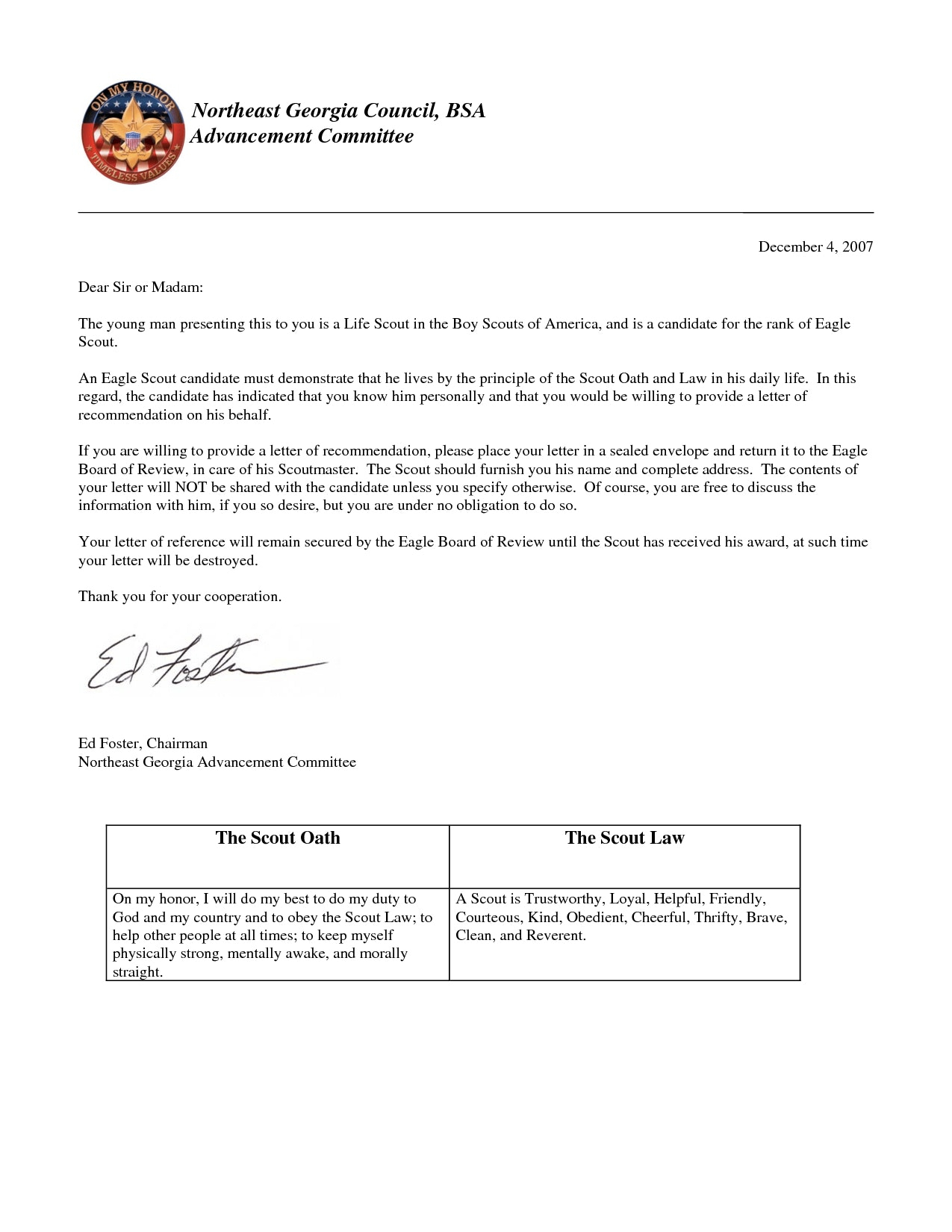 Eagle Scout Recommendation Letter Template - Eagle Scout Reference Letter Sample Image Collections Letter