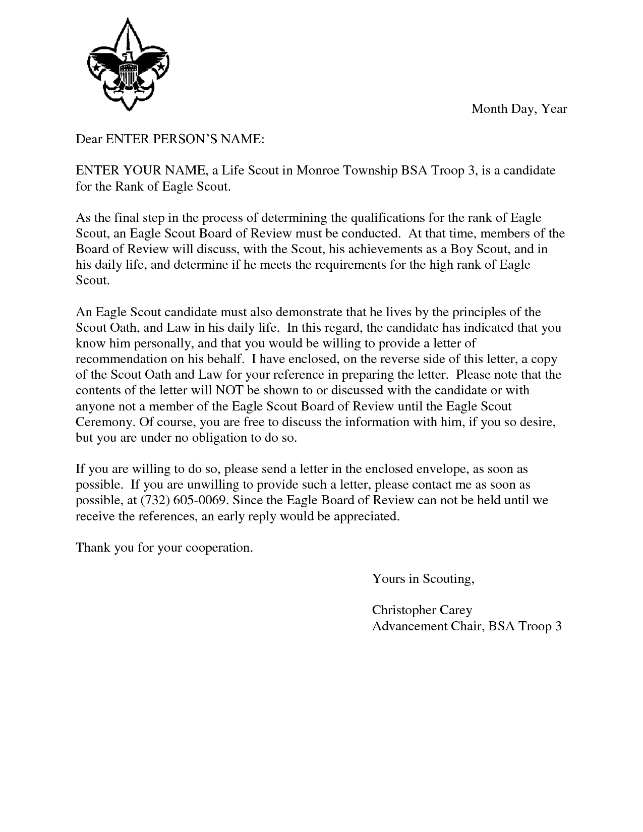 Letter to Troops Template - Eagle Scout Reference Request Sample Letter Doc 7 by Hfr990q