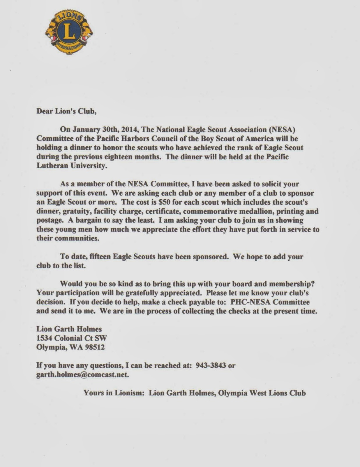 Boy Scout Donation Letter Template - Eagle Scout Thank You Letter Choice Image Letter format formal Sample