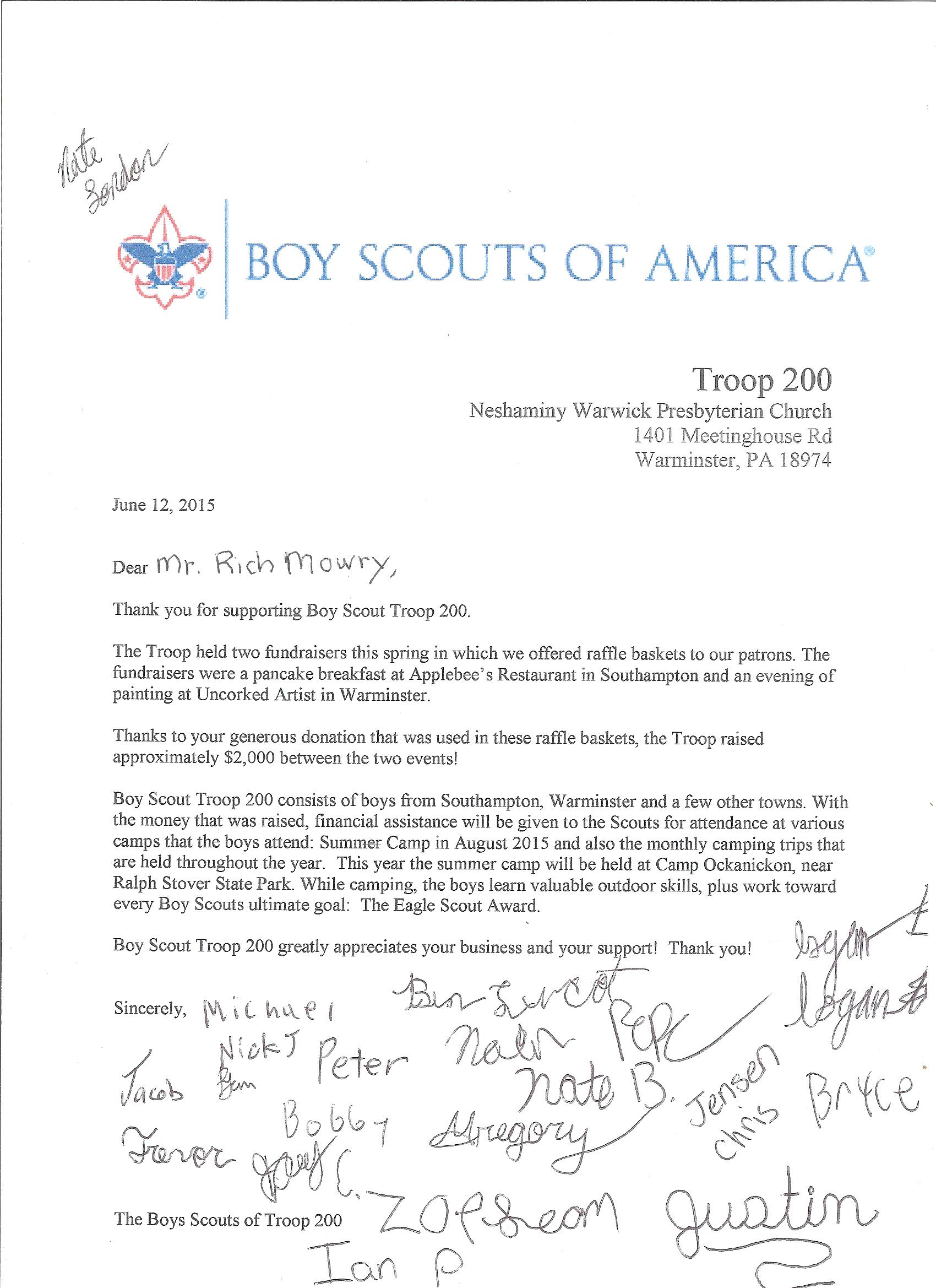 Eagle Scout Donation Letter Template - Eagle Scout Thank You Letter Gallery Letter format formal Sample