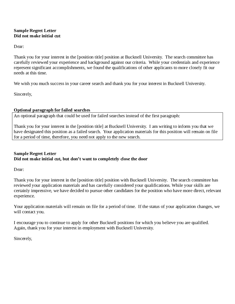 Rejection Letter Template after Interview - Elegant Sample Rejection Letter after Interview Your Template