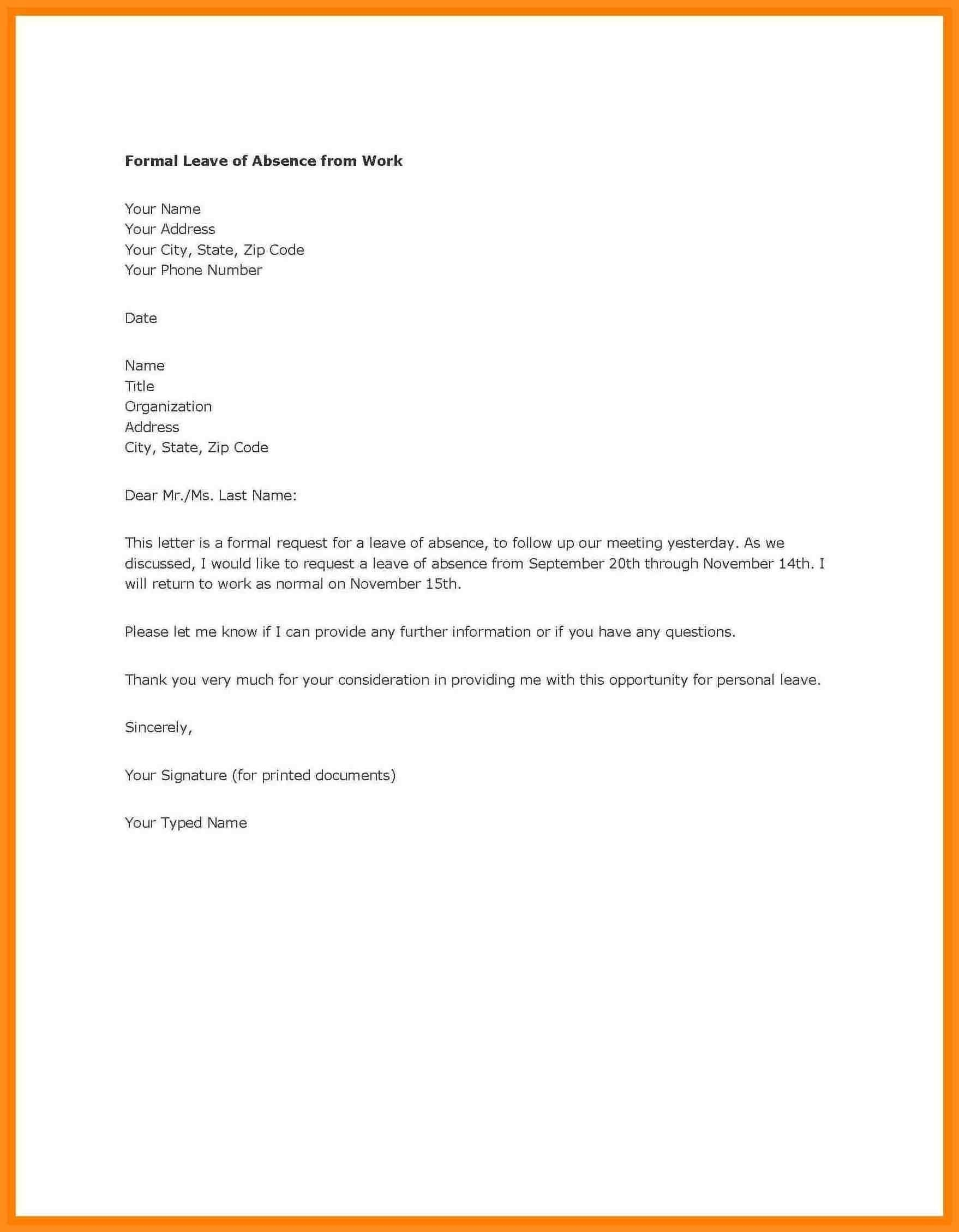 Personal Leave Of Absence Letter Template - Email Leave Letter format Fice Refrence Leave Letter format for