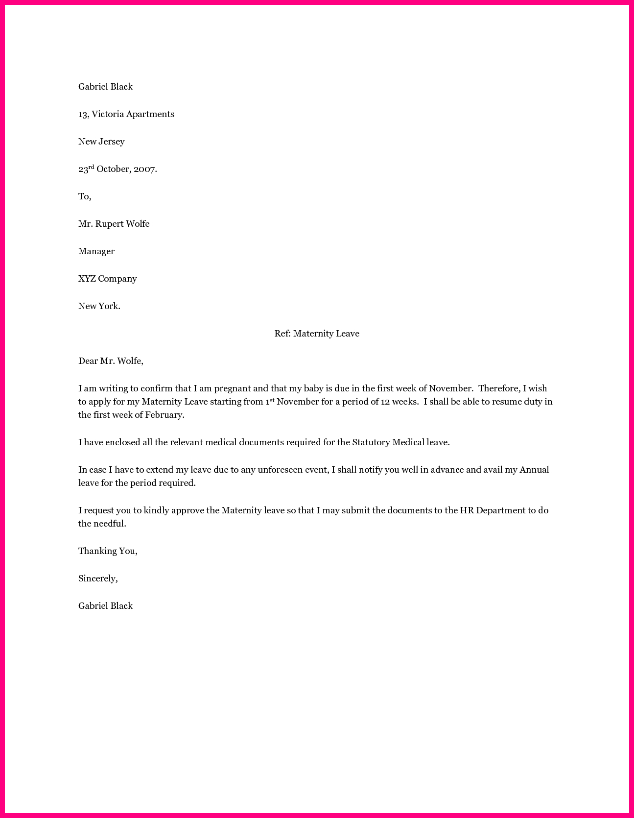 Pregnancy Confirmation Letter Template - Employee Maternity Leave Letter Sample Application format for School