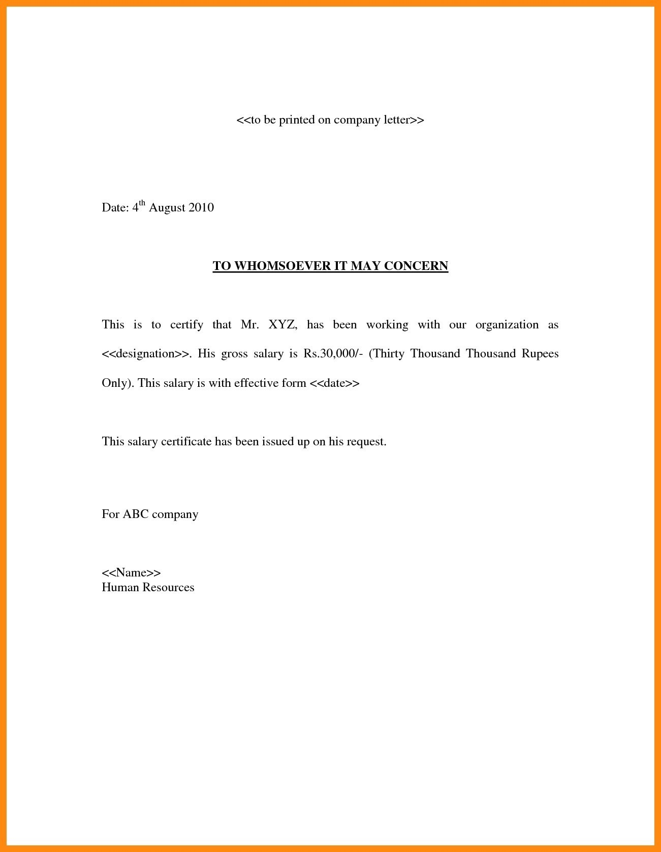Salary Verification Letter Template - Employment Certificate format with Salary Best 3 Salary