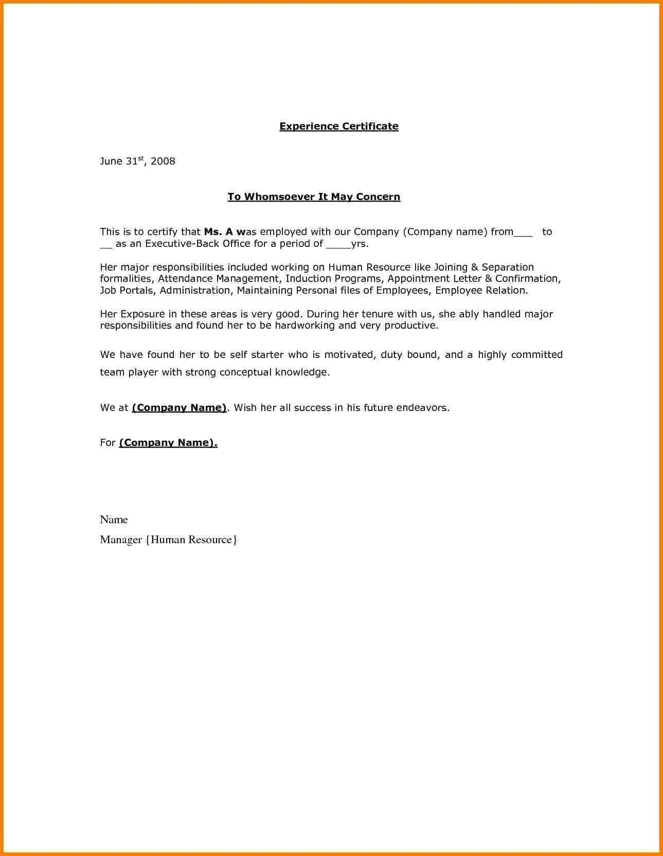 Letter Of Separation From Employer Template - Employment Certificate Sample Doc Copy Unemployment Certificate