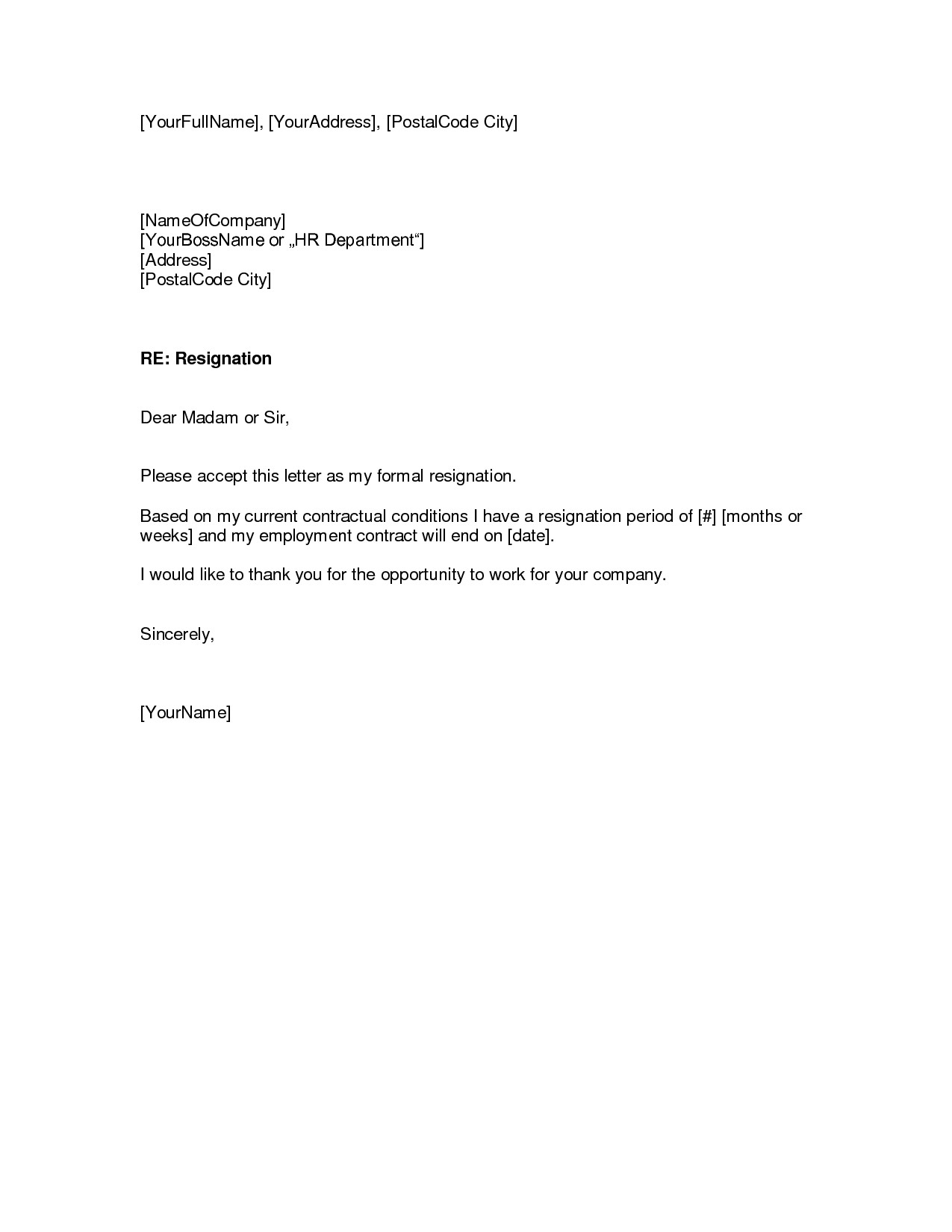 Resignation Letter Template Word - Employment Fer Letter Template Doc Copy Resignation Letter Sample