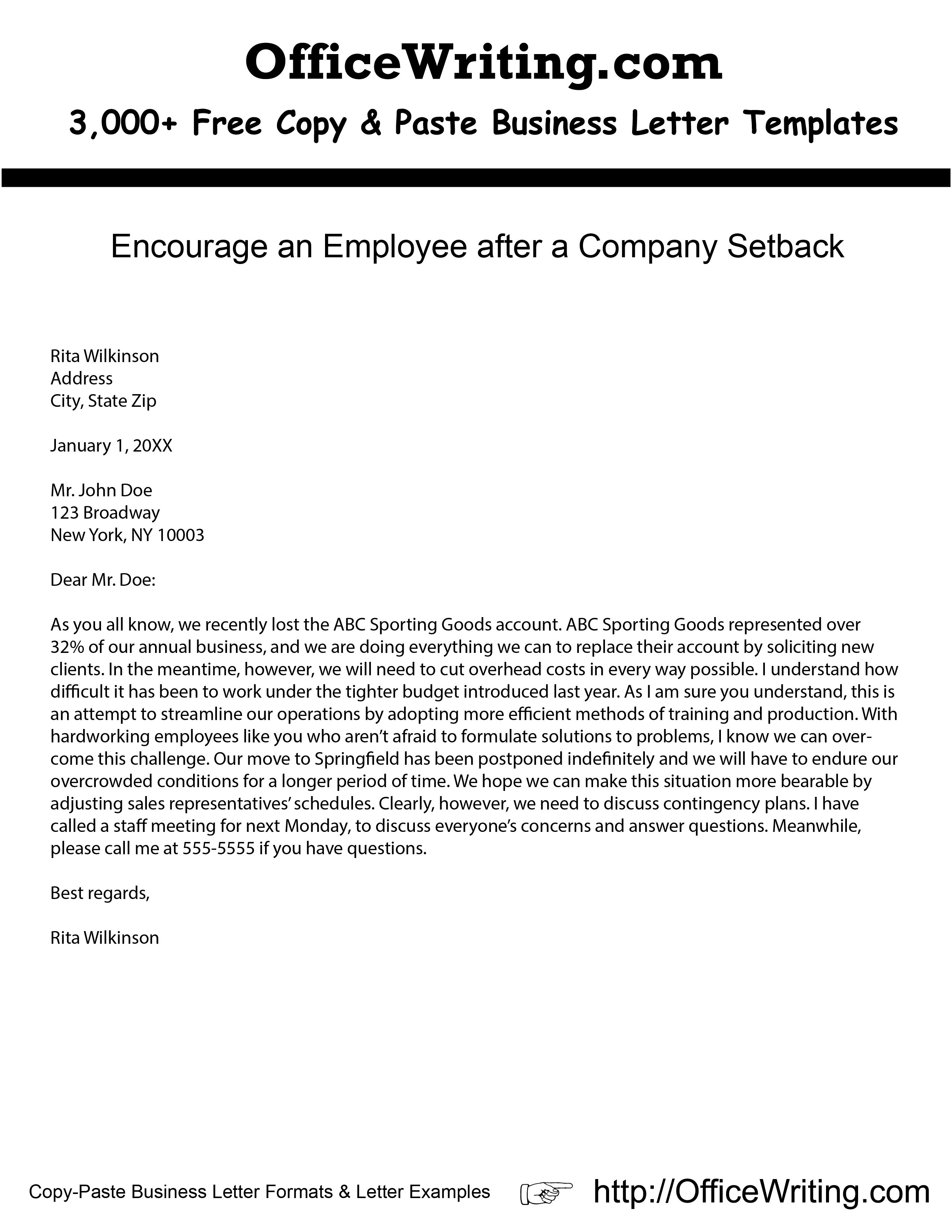 Free Business Letter format Template - Encourage An Employee after A Pany Setback Ficewriting