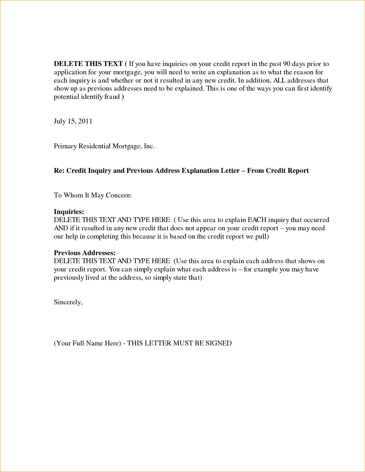 Letter Of Explanation for Mortgage Word Template - Example Letter Explanation Job Gap Mortgage Save Letter Explanation