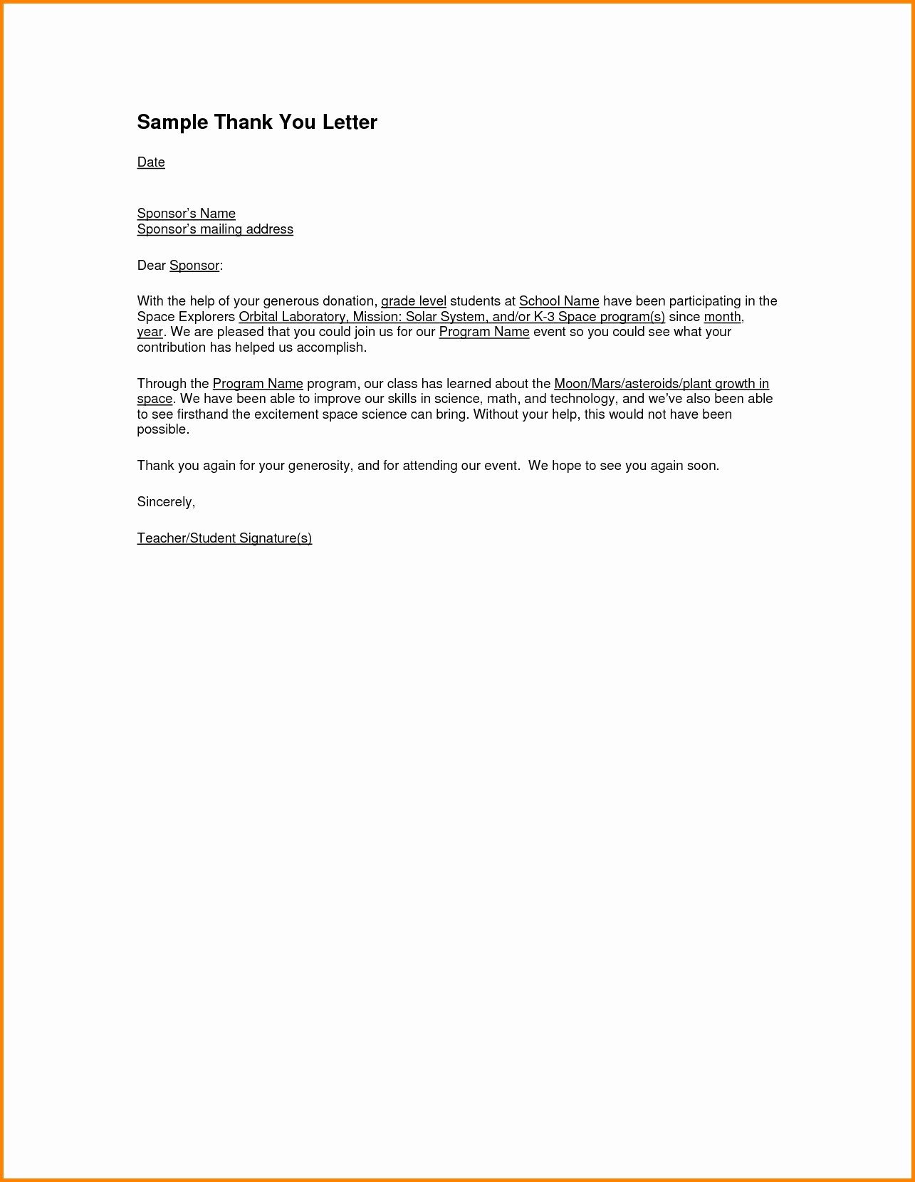 Sponsorship Thank You Letter Template - Example Thank You Letter for Sponsorship Beautiful Thank You