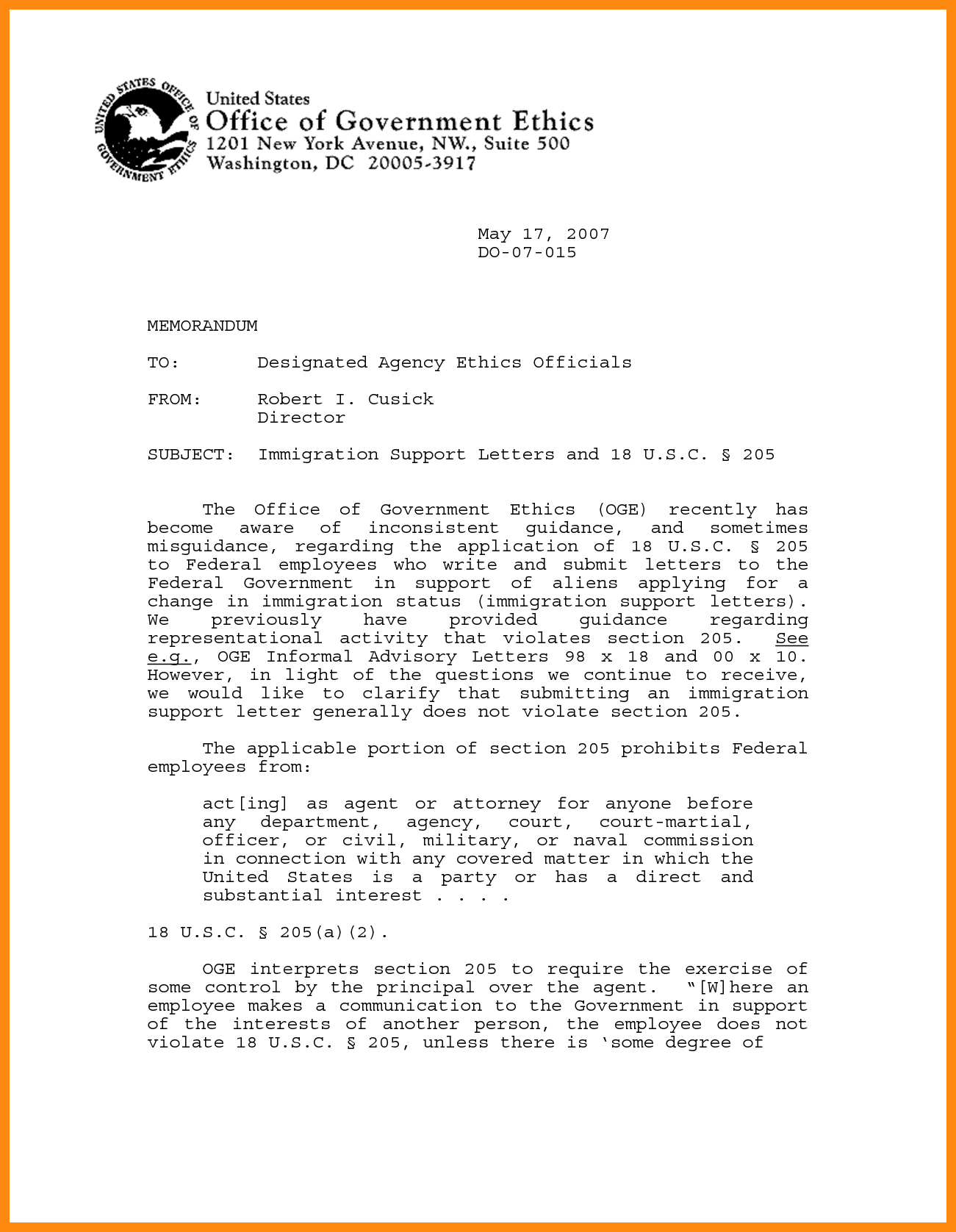 letters of recommendation for immigration