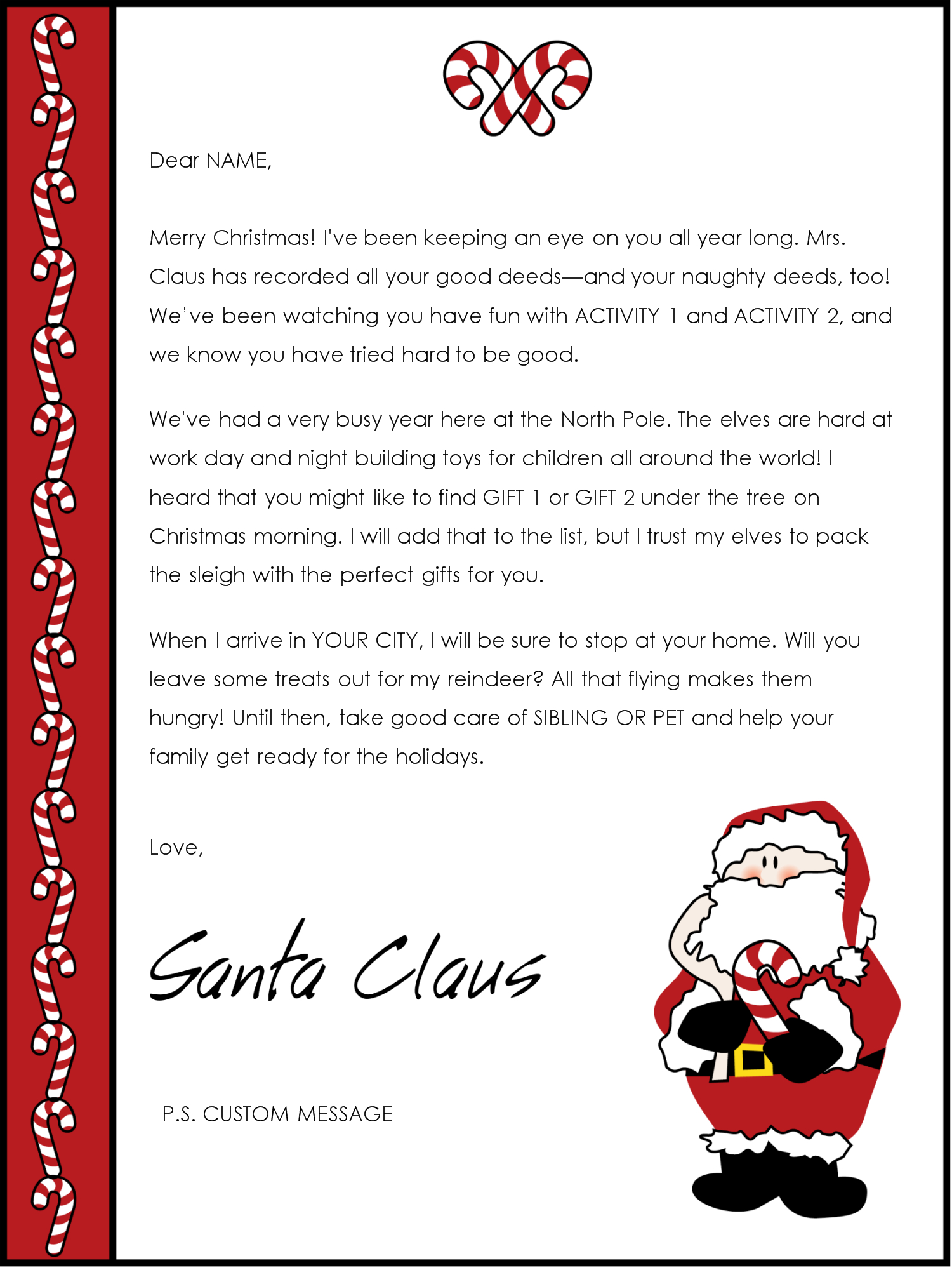 Santa Reply Letter Template - Father Christmas Letter Template Acurnamedia