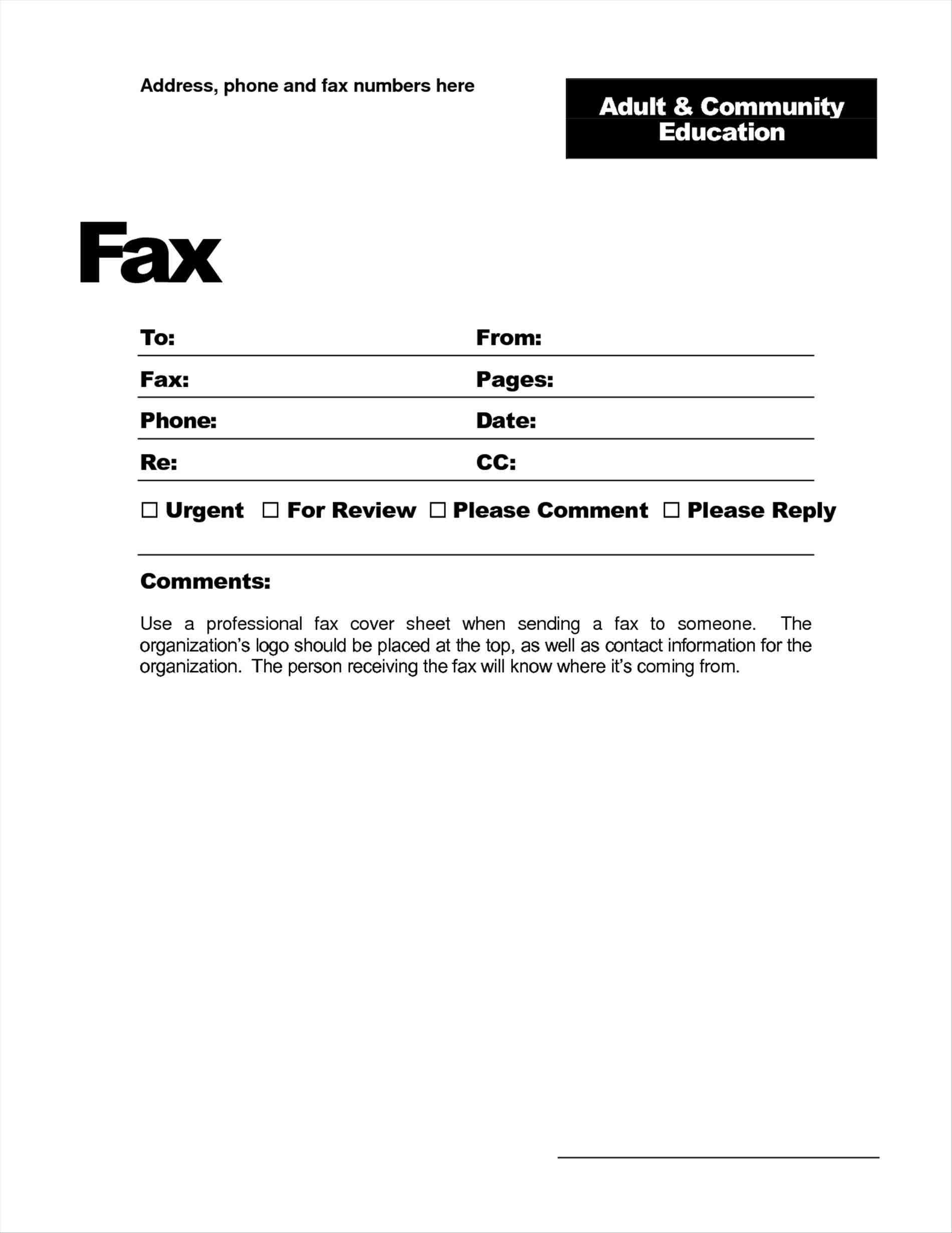 Free Printable Fax Cover Letter Template