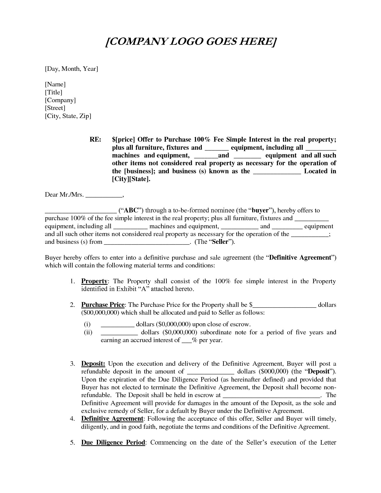 Letter Of Intent to Purchase Business Template - Fer Letter Example Sample Fer Purchase Letter Intent