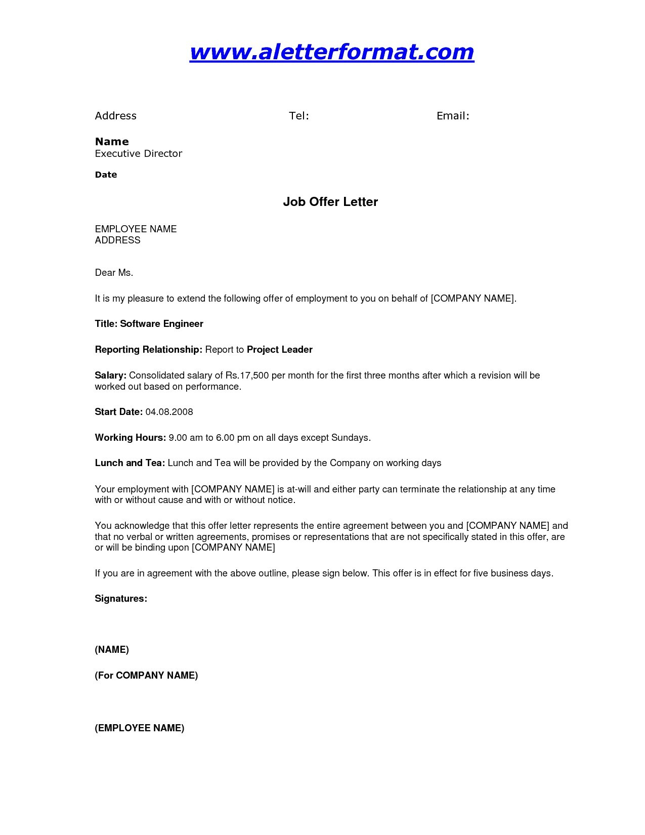 Job Offer Letter Template Doc Examples Letter Templates
