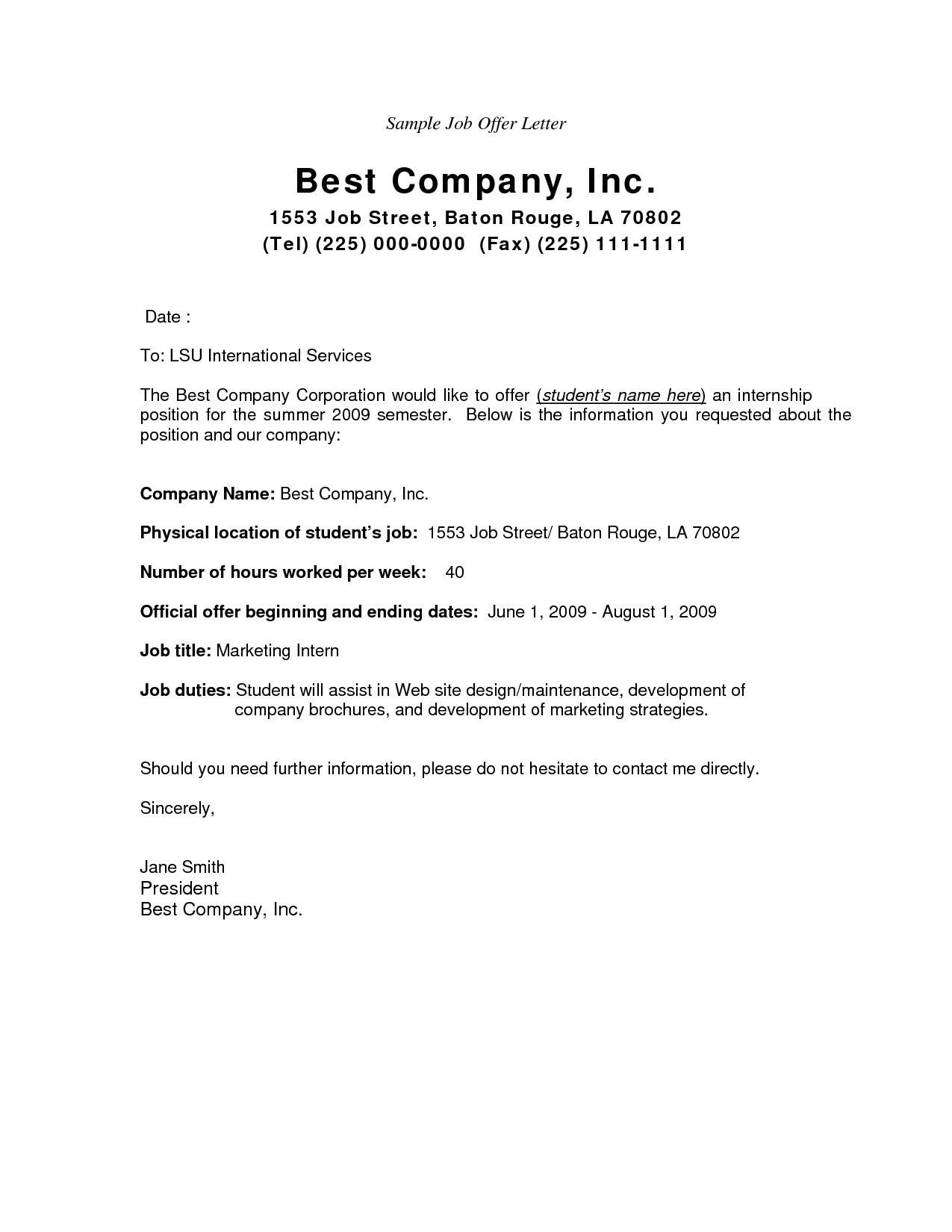 Job Offer Letter Template Doc - Fer Letter format Doc Uae Best Appointment Letter Template Best