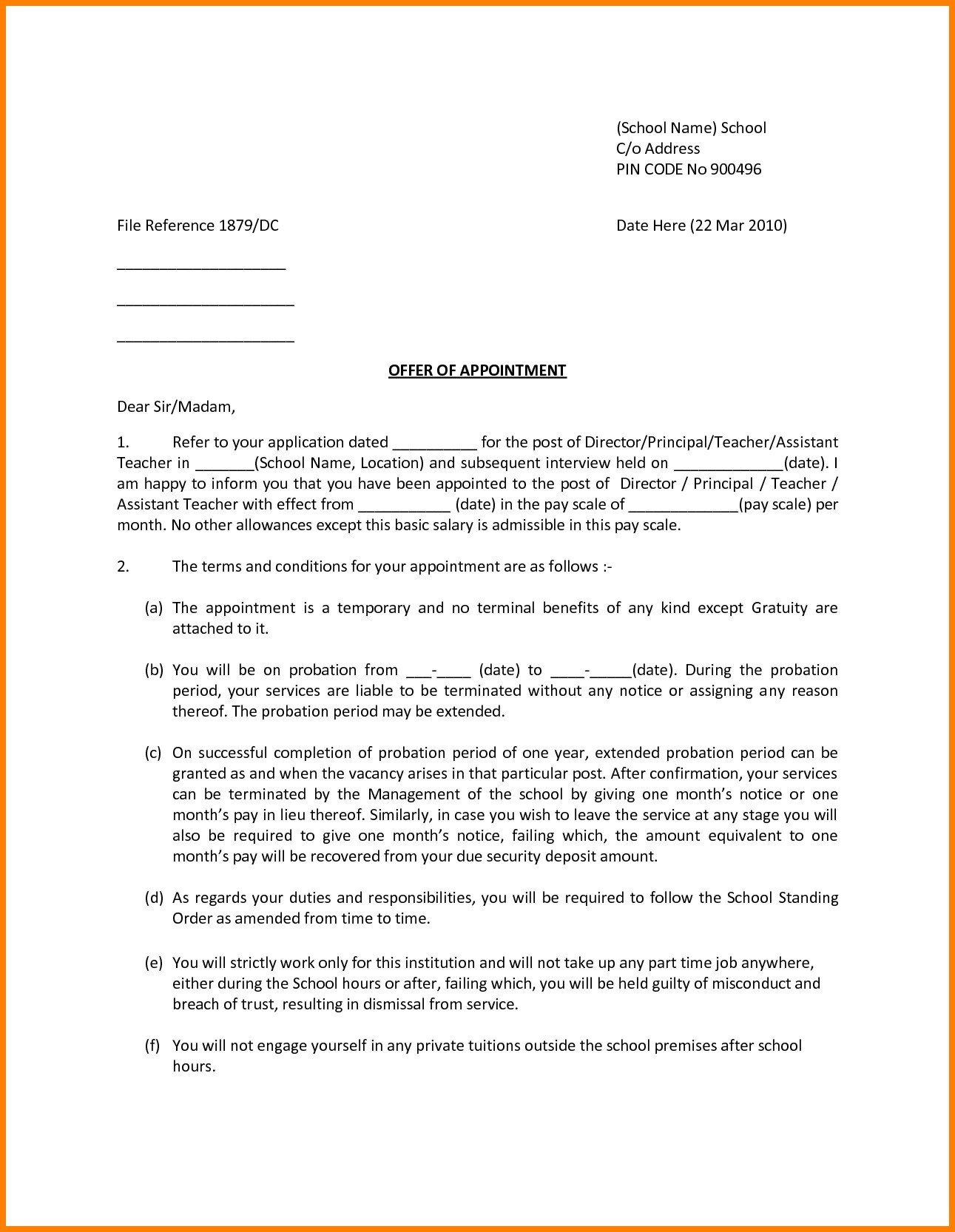 Job Offer Letter Template Pdf - Fer Letter format for A Job Save Job Fer Letter format