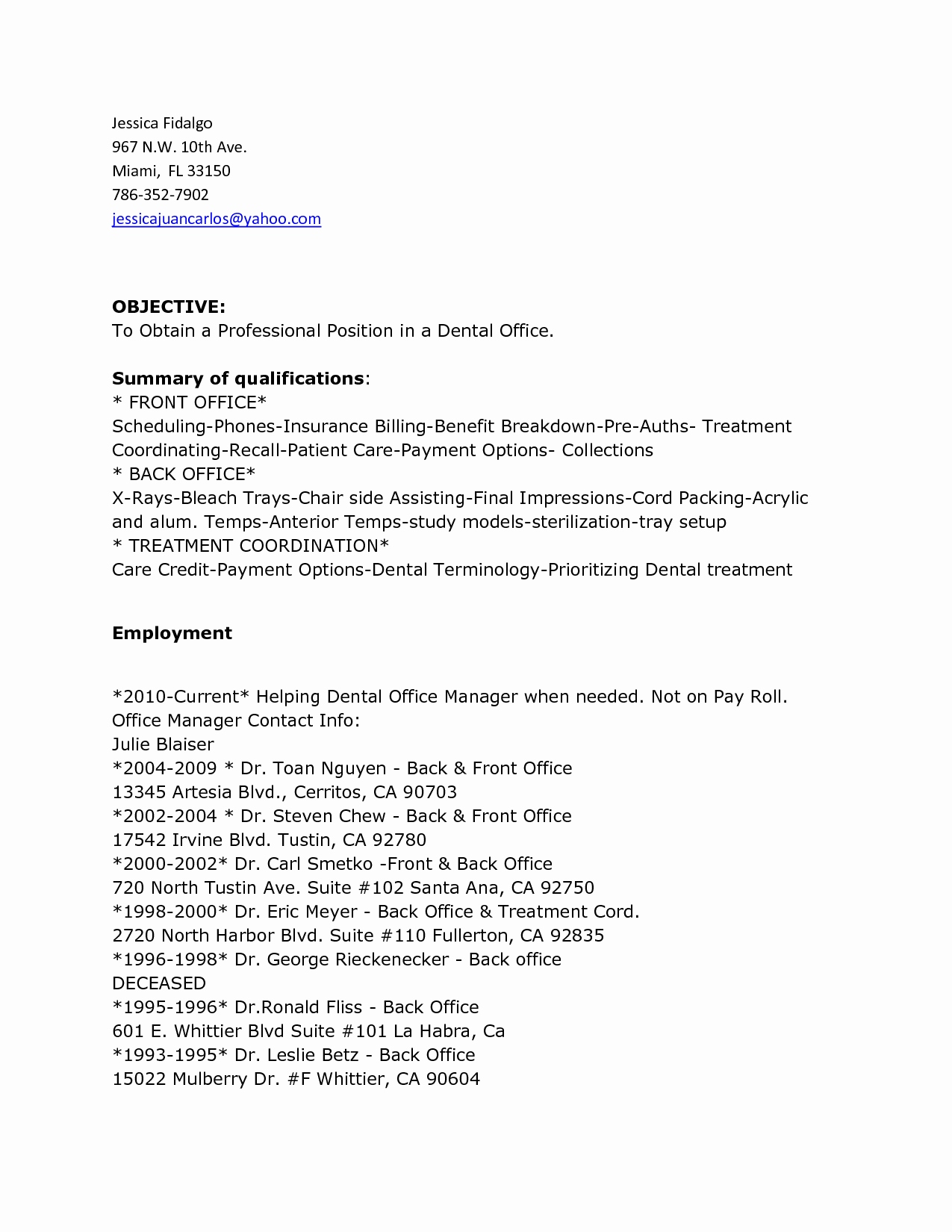 Dental Recall Letter Template - Fice Manager Resume Summary Front Office Manager Resume Sample