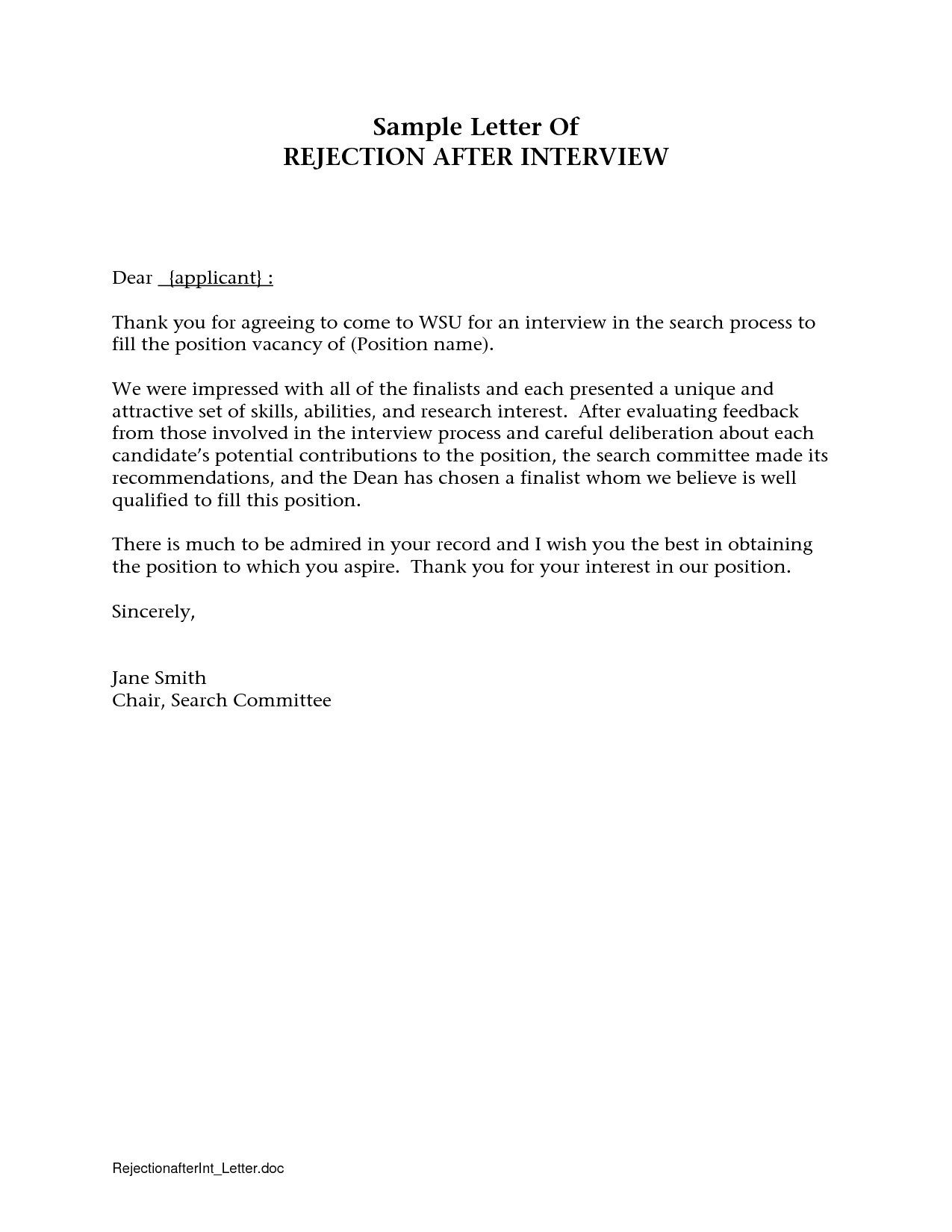 rejection letter template after interview examples letter templates