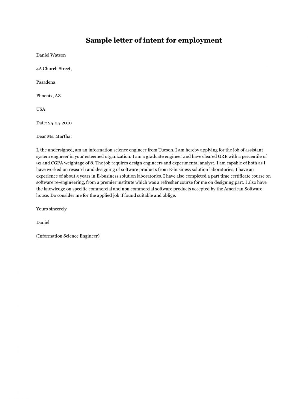 Letter Of Intent for Job Template - form Of Letter Of Intent Acurnamedia