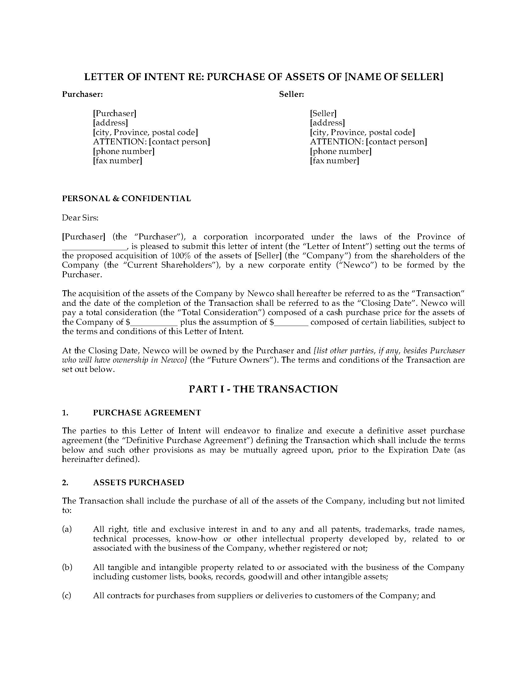 Letter Of Intent to Purchase Business Template Free - form Of Letter Of Intent Acurnamedia