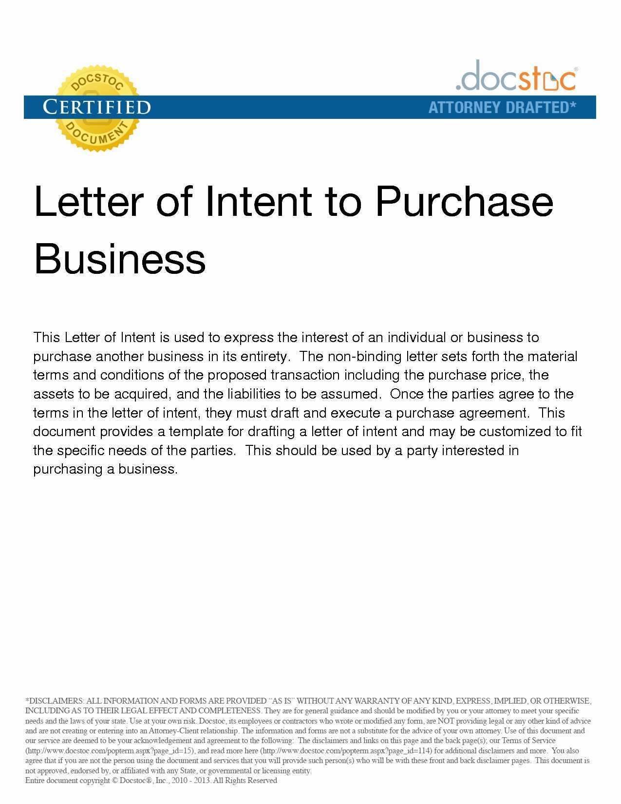 Letter Of Intent to Purchase Business Template - form Of Letter Of Intent Acurnamedia