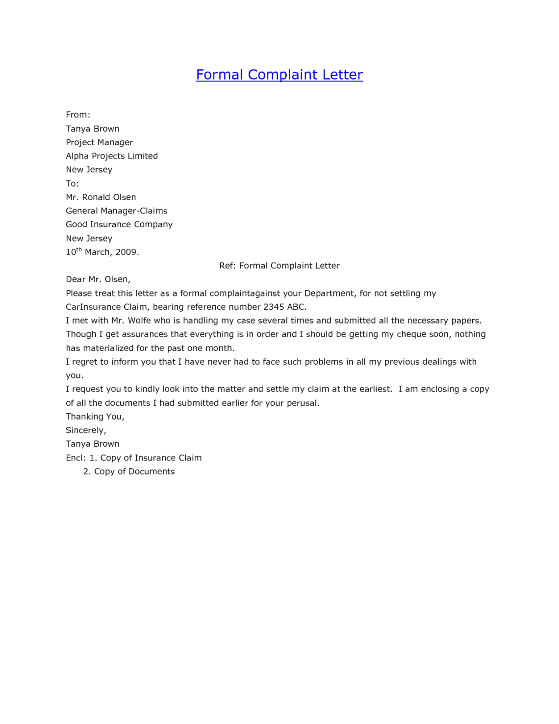 Medical Negligence Complaint Letter Template - formal Business Letter Plaint Template Resize 2 C Perfect
