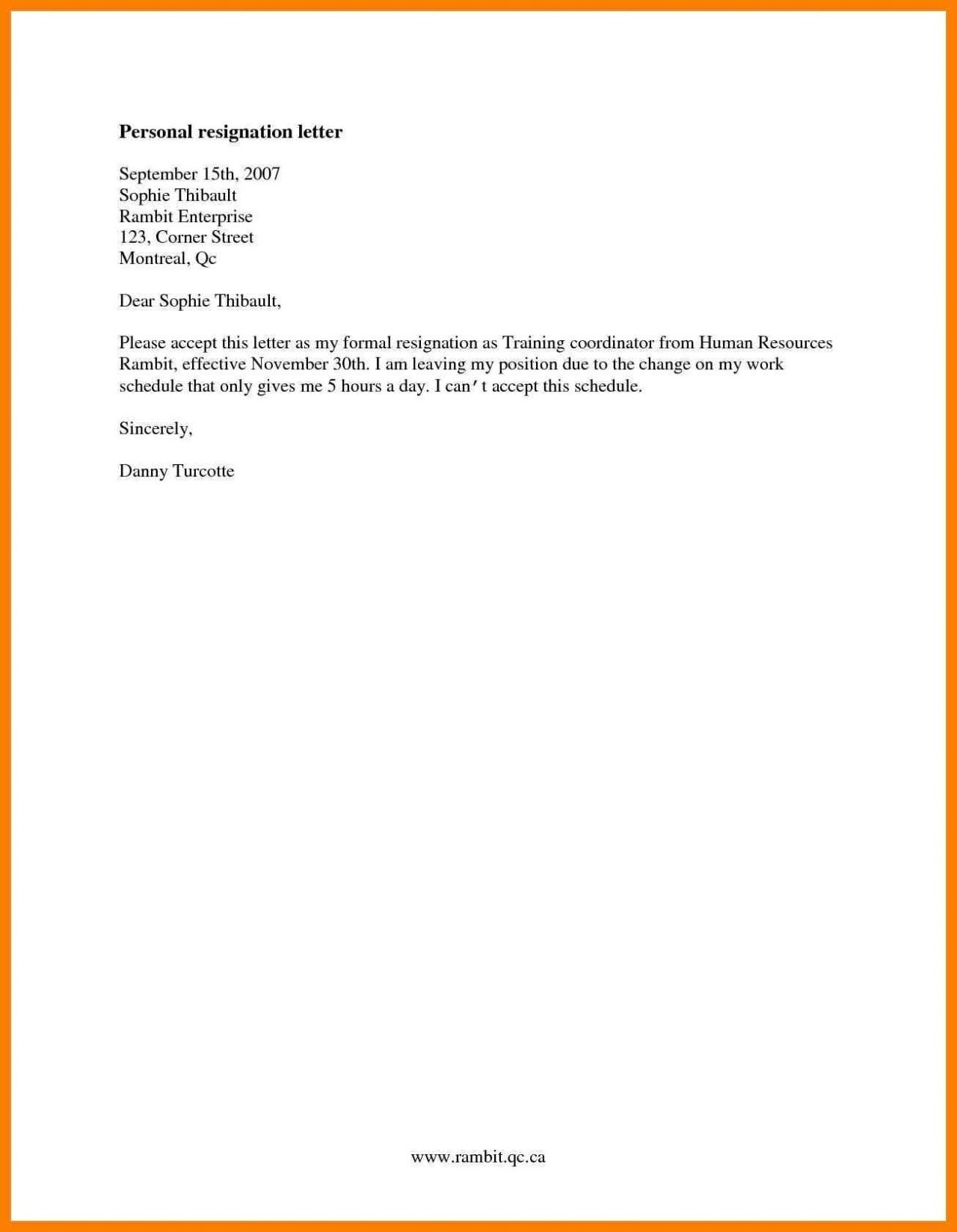 Formal Resignation Letter Template - formal Resignation Letter Template E Month Notice Copy Cards