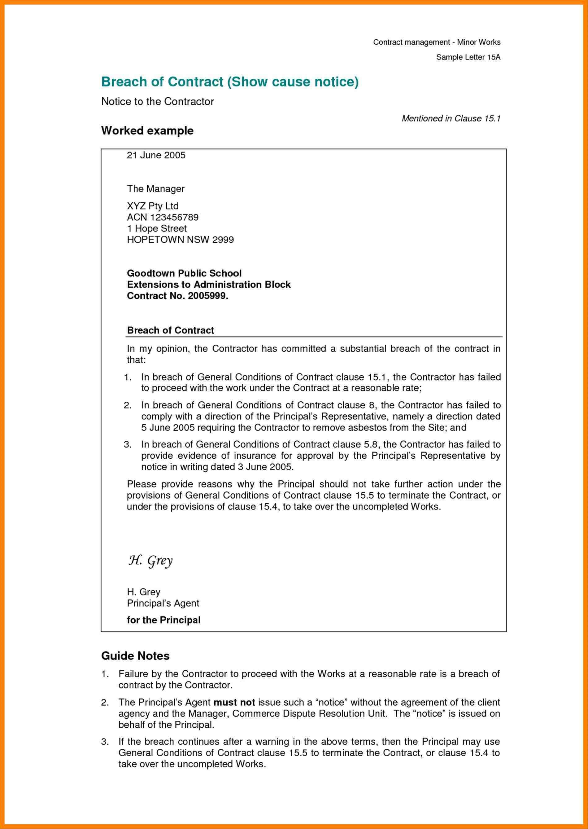 Free Breach Of Contract Letter Template - Free Cover Letter Templates Breach Of Contract Letter