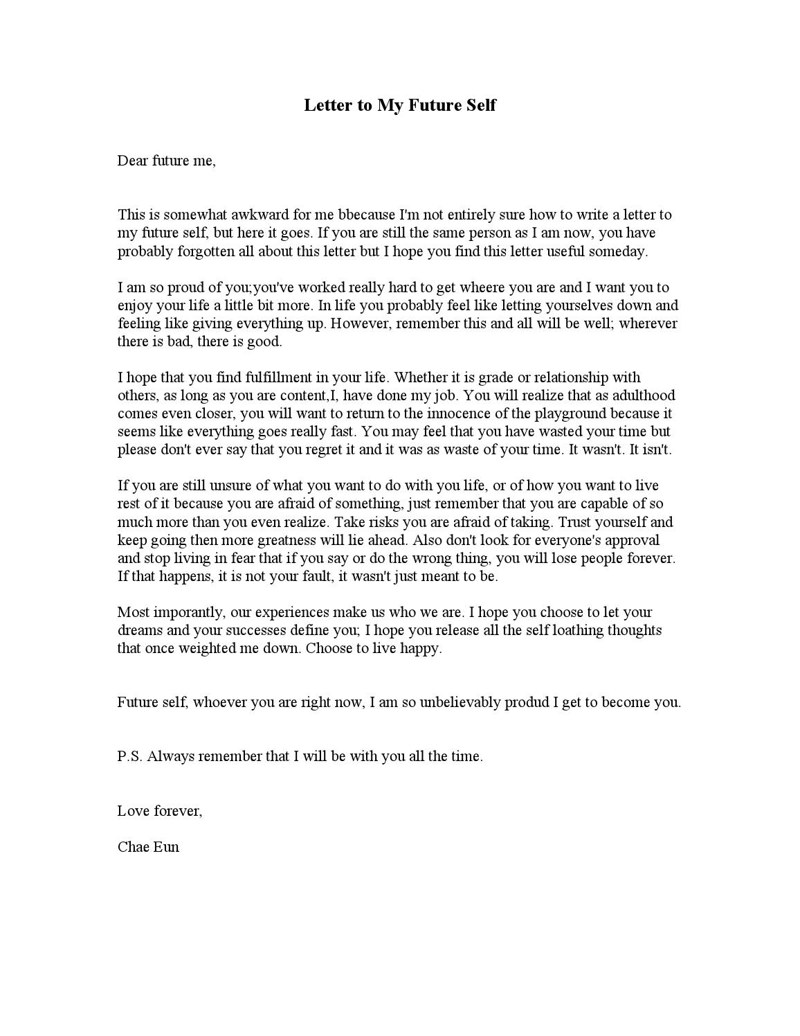 Letter to My Future Self Template - Free Cover Letter Templates Letter to Your Future Self
