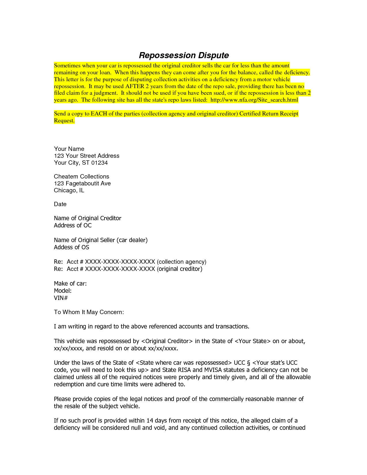 Car Repossession Dispute Letter Template - Free Cover Letter Templates Repossession Dispute Letter