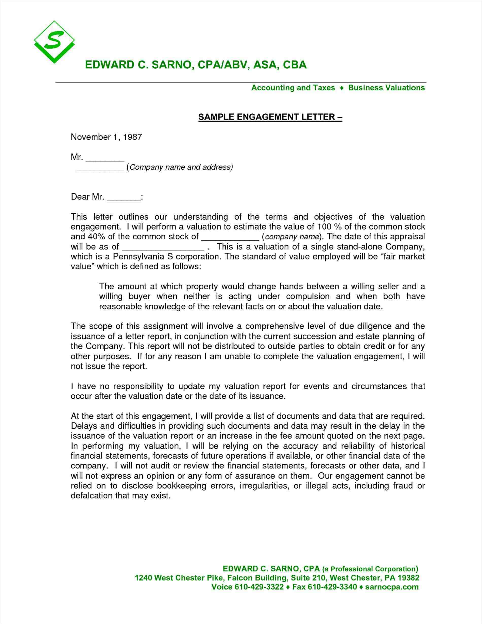 business valuation engagement letter template example-sample engagement letter cpa Search and free cover letter templates collections Download for free for mercial or non mercial projects 2-l