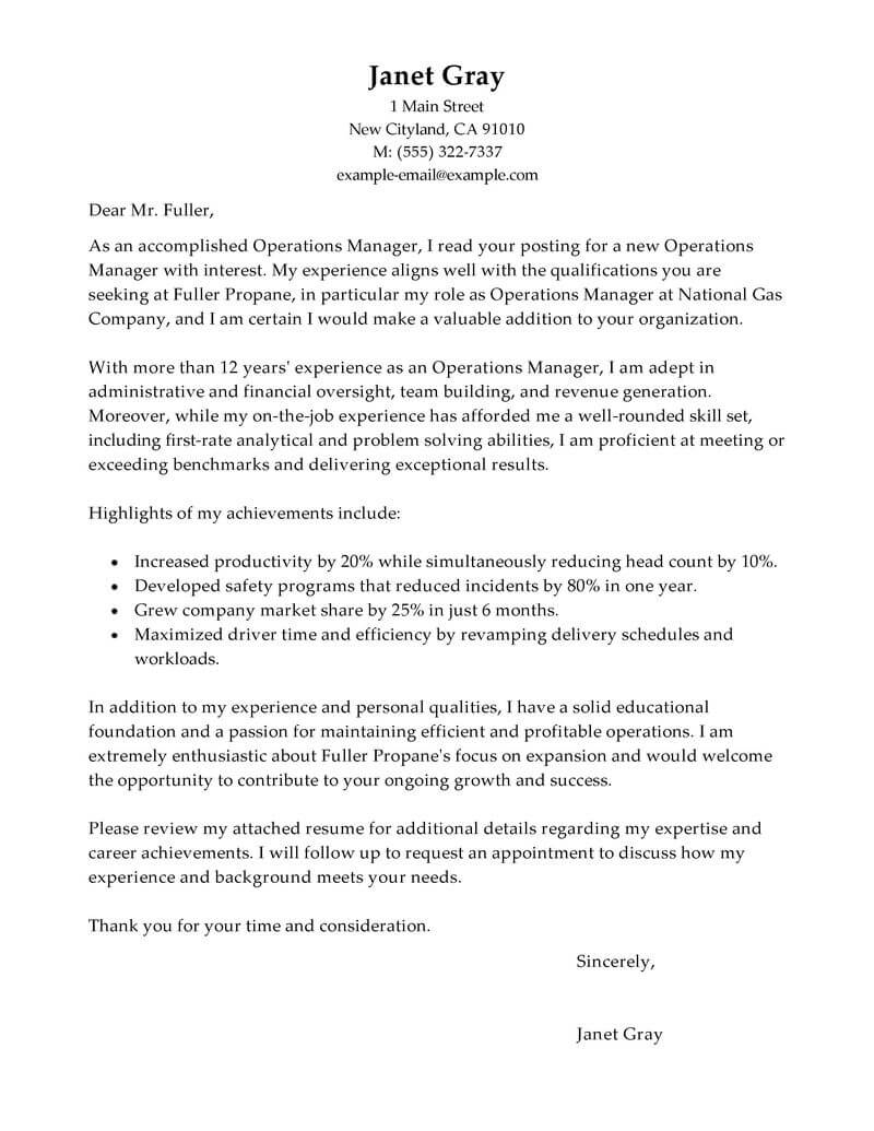 Operations Manager Cover Letter Template   Free Cover Letter Templates  Store Manager Cover Letter