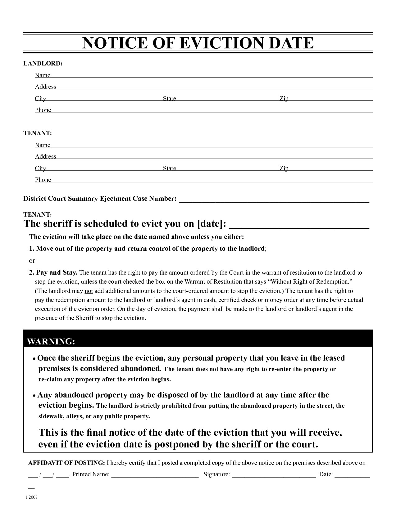 Eviction Warning Letter Template - Free Eviction Notice form New Free Printable Eviction Notice