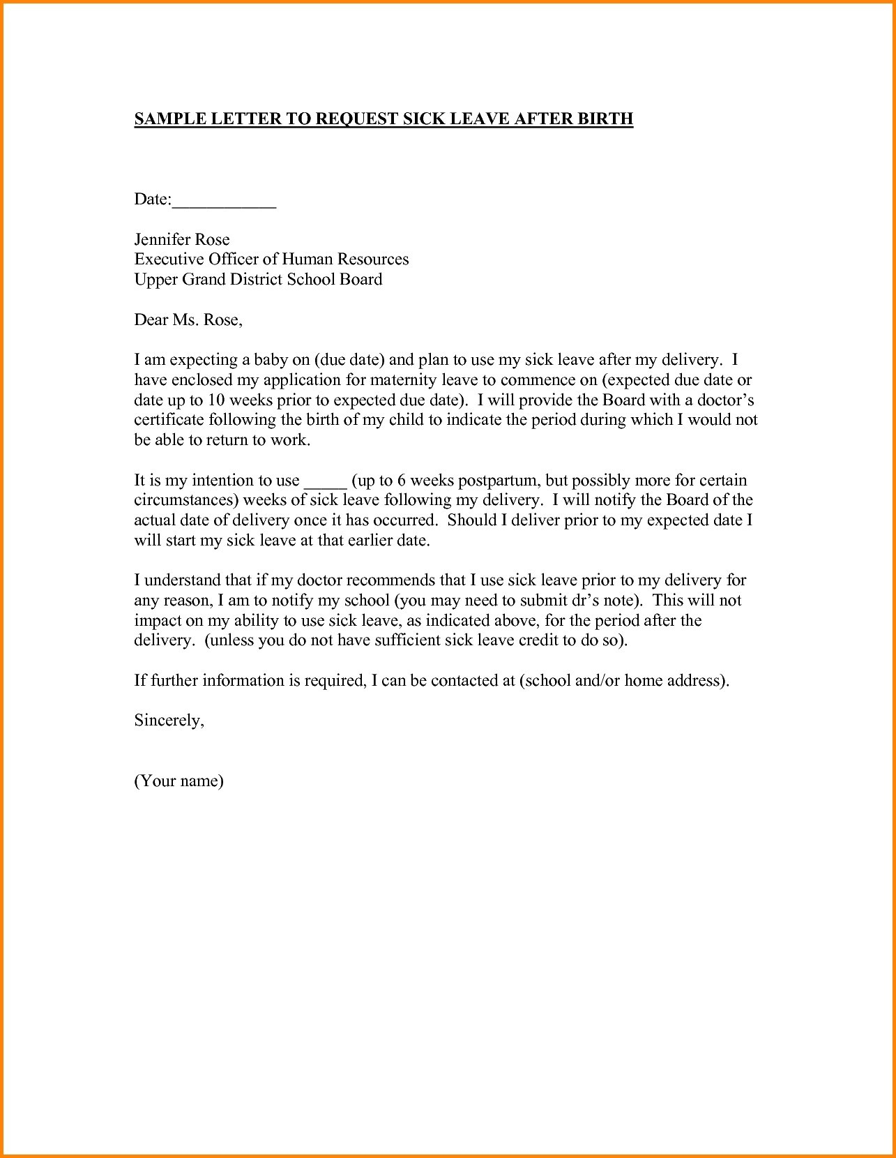 Maternity return to work letter from employer template collection maternity return to work letter from employer template free example letter letter template informing employer spiritdancerdesigns Images