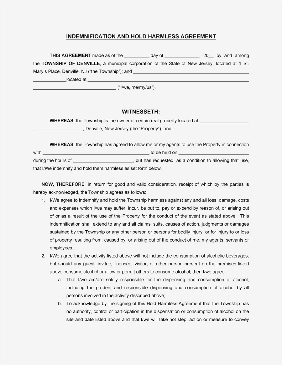 Letter Of Agreement Template Free - Free Hold Harmless Letter Template Collection