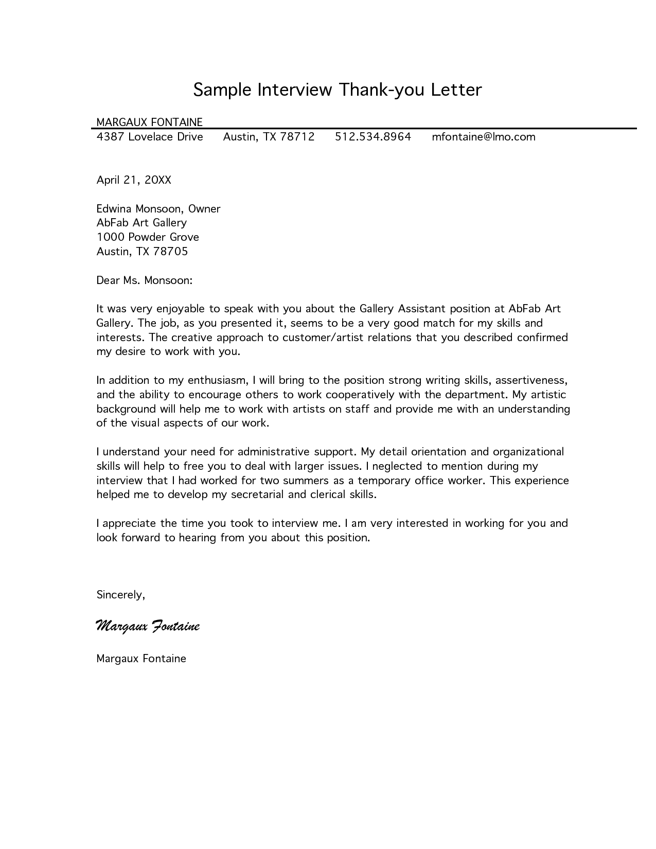 Employment Thank You Letter Template - Free Letter Of Interest Templates