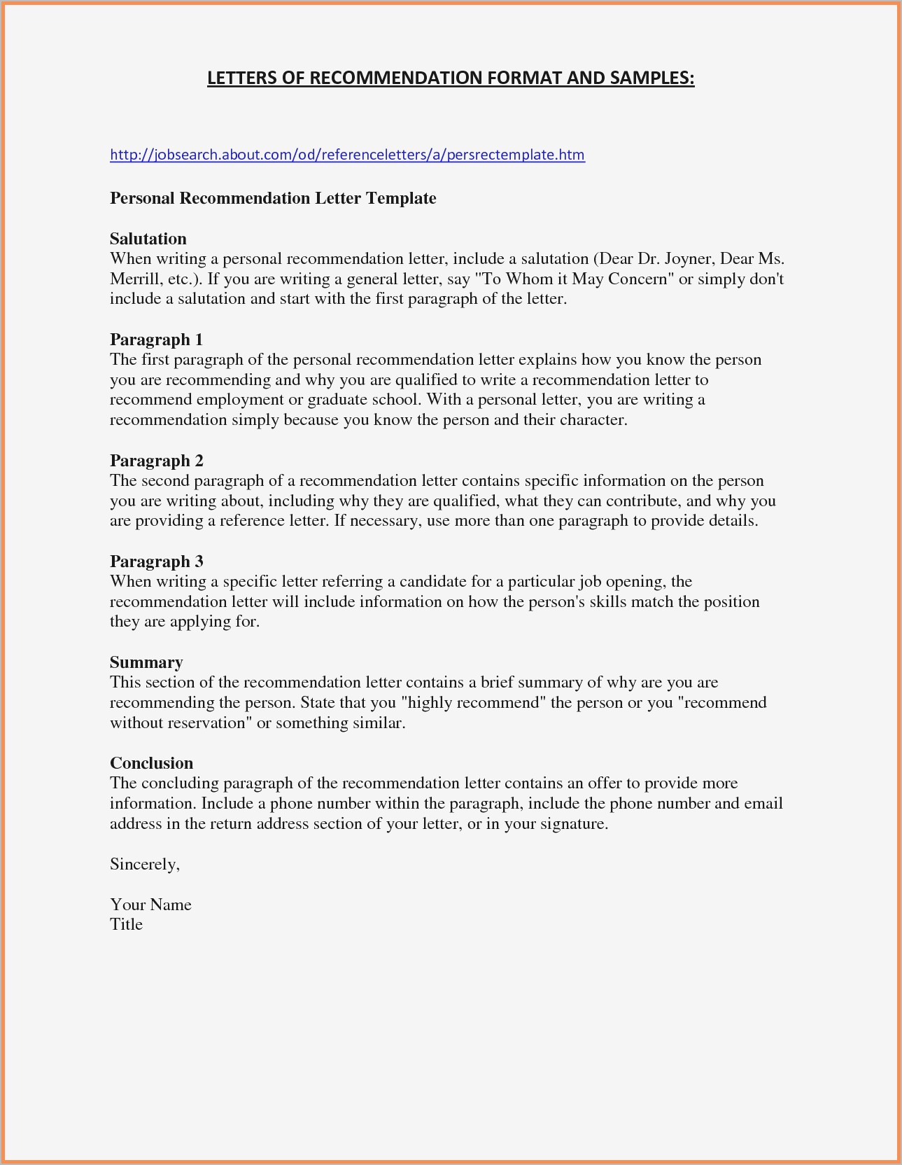 Nursing School Recommendation Letter Template - Free Letter Re Mendation Template Pdf format