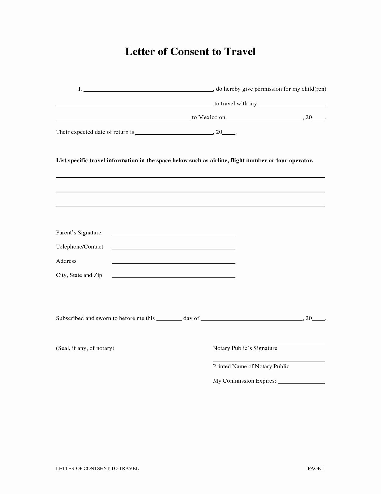 Letter Of Consent for Child to Travel Template - Free Medical Consent form Child Medical Consent form Authorization