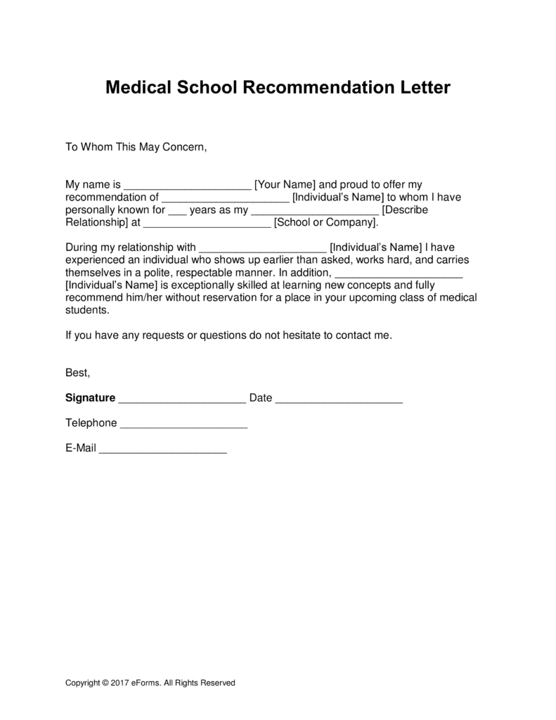 Medical School Letter Of Recommendation Template - Free Medical School Letter Of Re Mendation Template with Samples