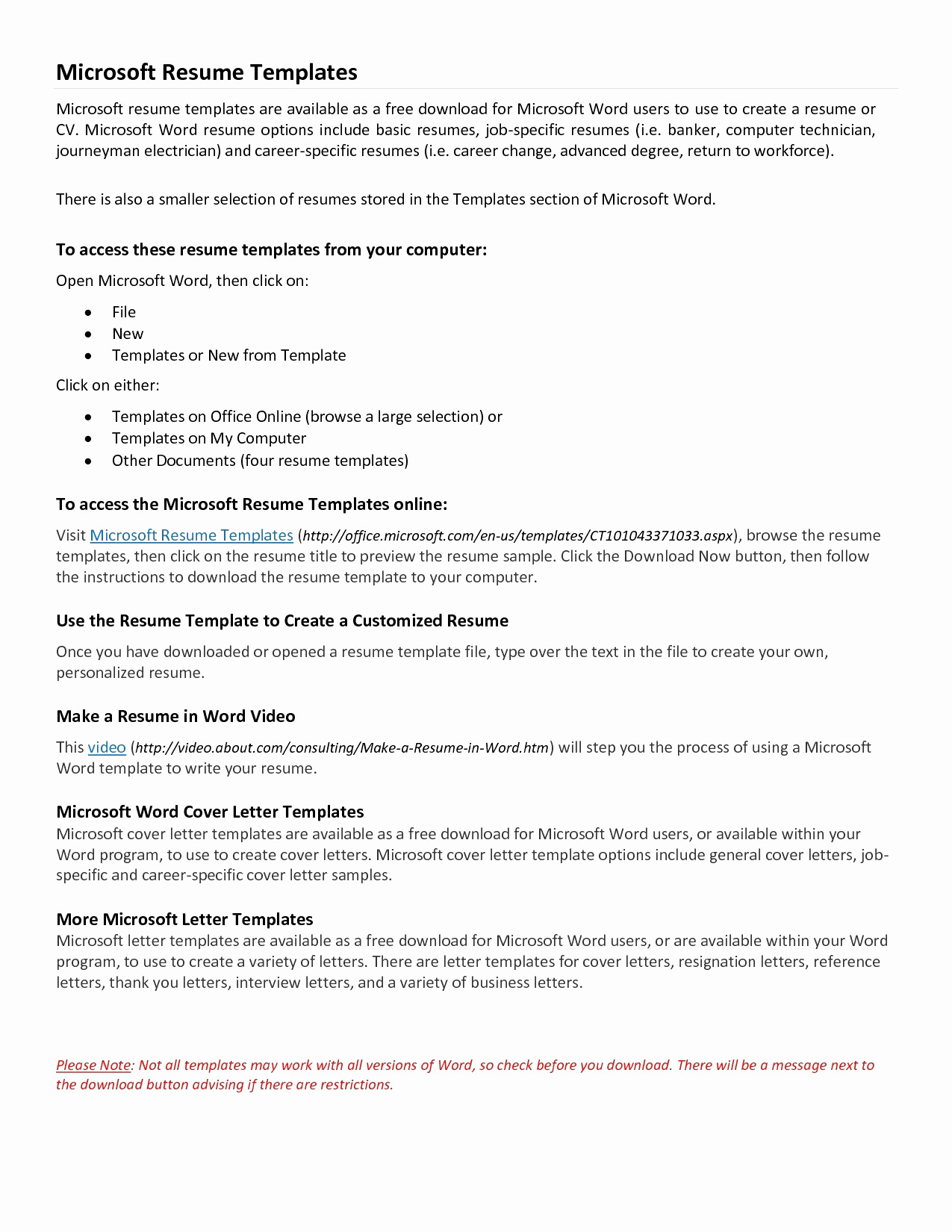 Resume and Cover Letter Template Microsoft Word - Free Microsoft Resume Templates New Microsoft Word Resume Sample