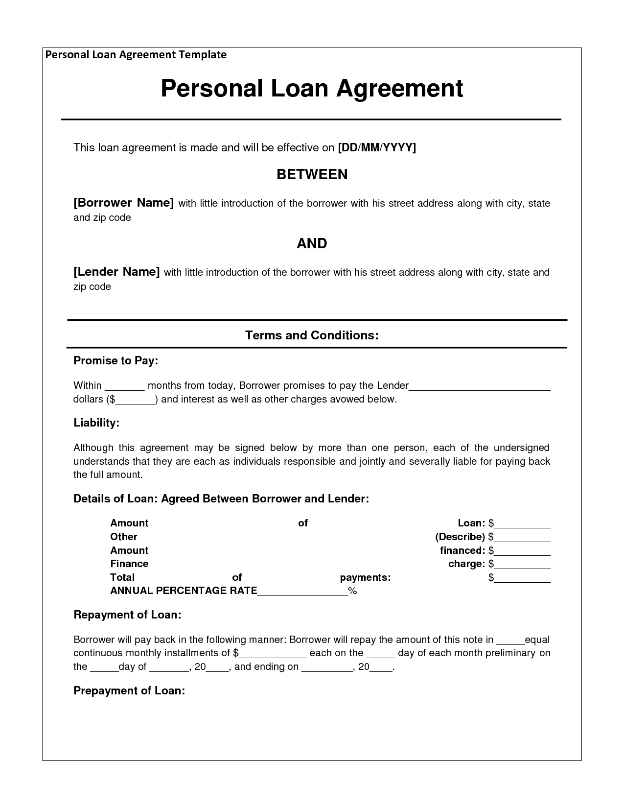 Personal Loan Letter Template - Free Personal Loan Agreement form Template $1000 Approved In 2